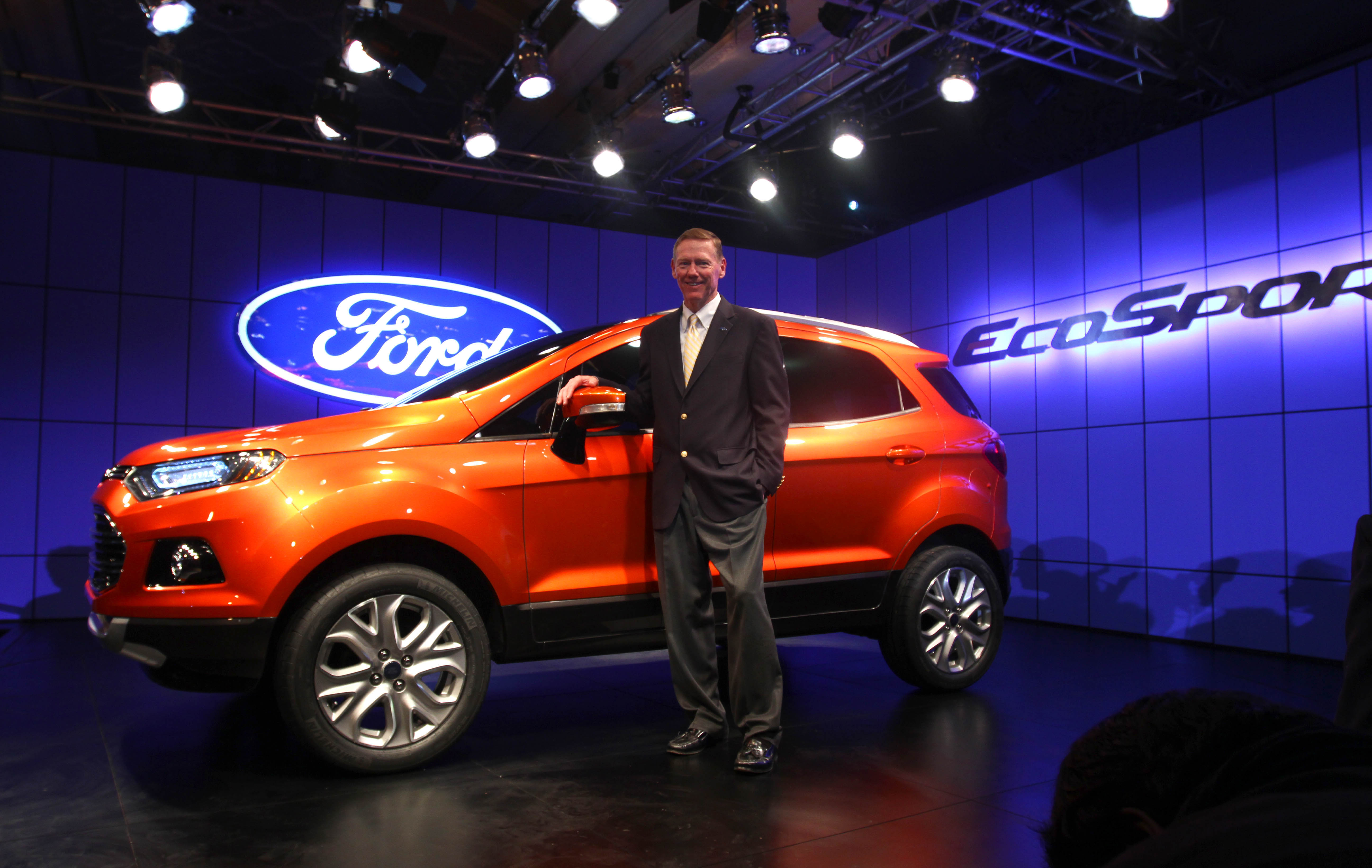 Alan Mulally, president and CEO of Ford Motor Company unveils Ford's new compact SUV EcoSport at The Taj Palace Hotel in New Delhi.