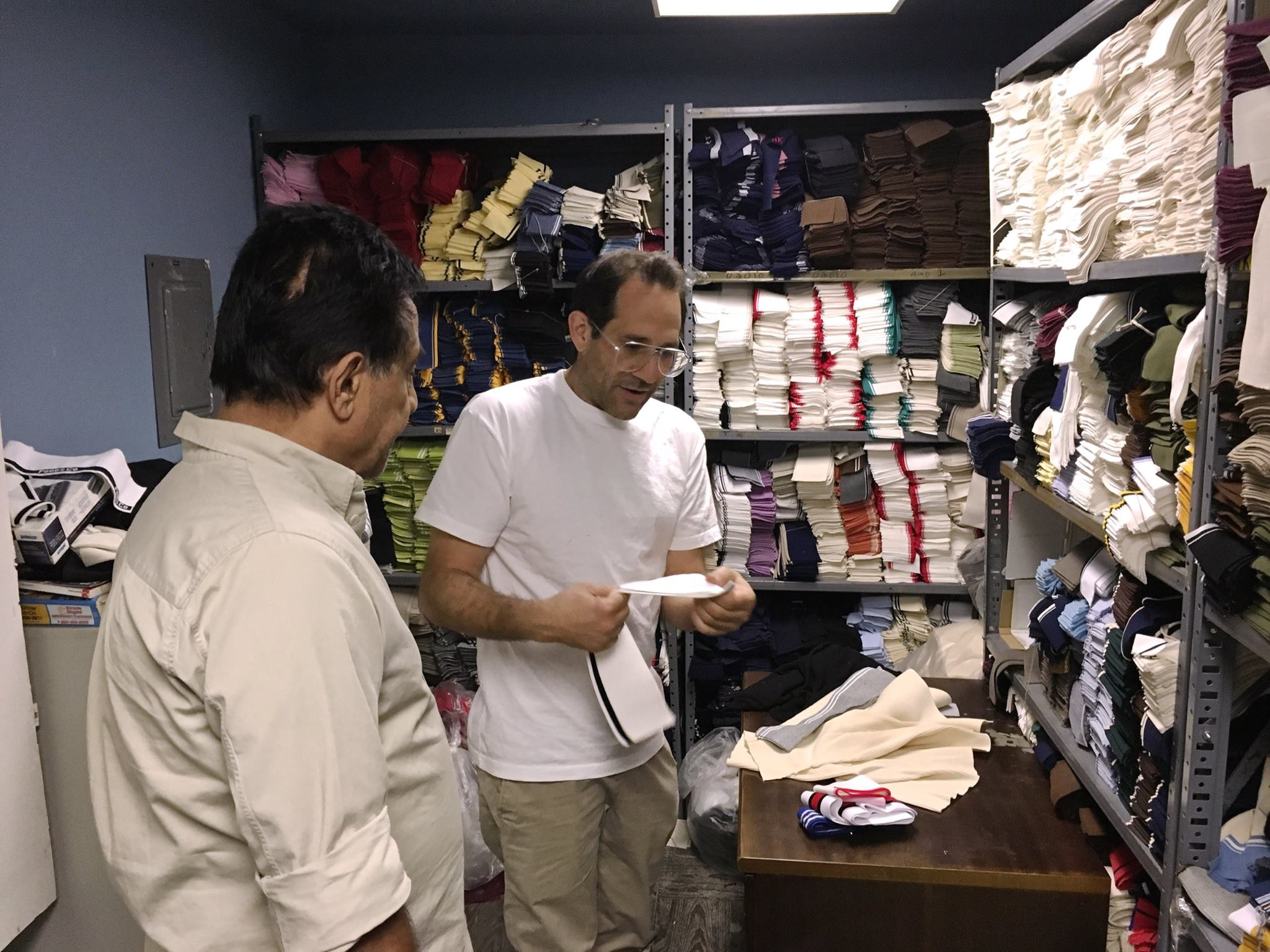 Dov Charney working with a knitter on Golf shirts in Downtown Los Angeles. The controversial founder and former CEO of American Apparel has founded another T-shirt company with some of his old colleagues.
