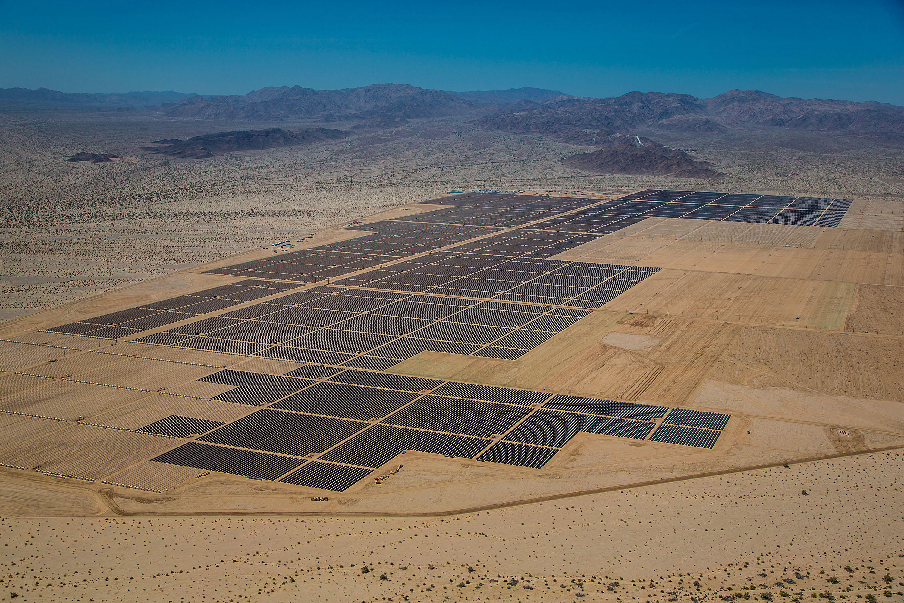 Aerial Views Of First Solar's Desert Sunlight Solar Farm