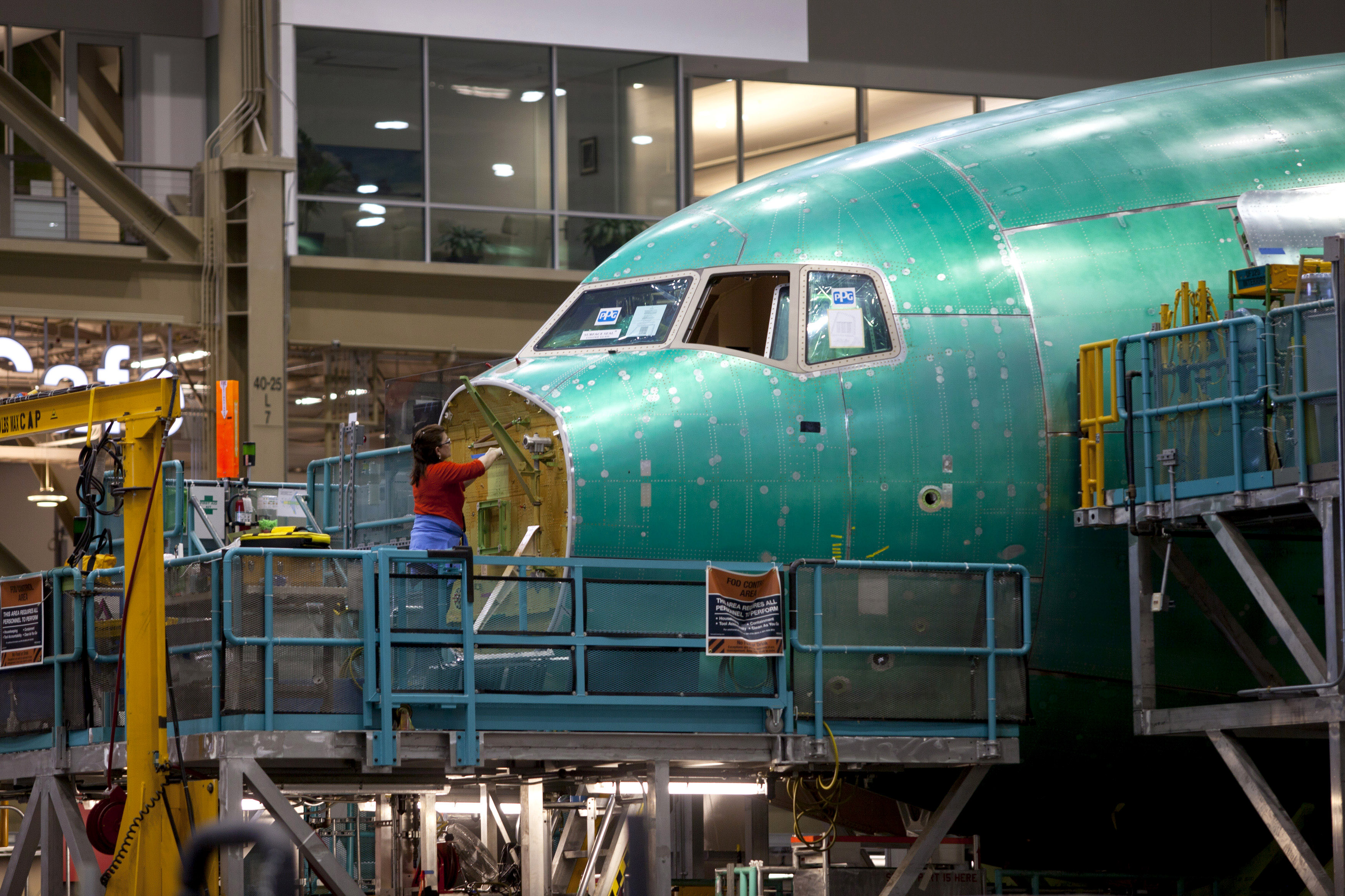 Operations Inside Boeing Co's 777 Factory And Robotics Painting Facility
