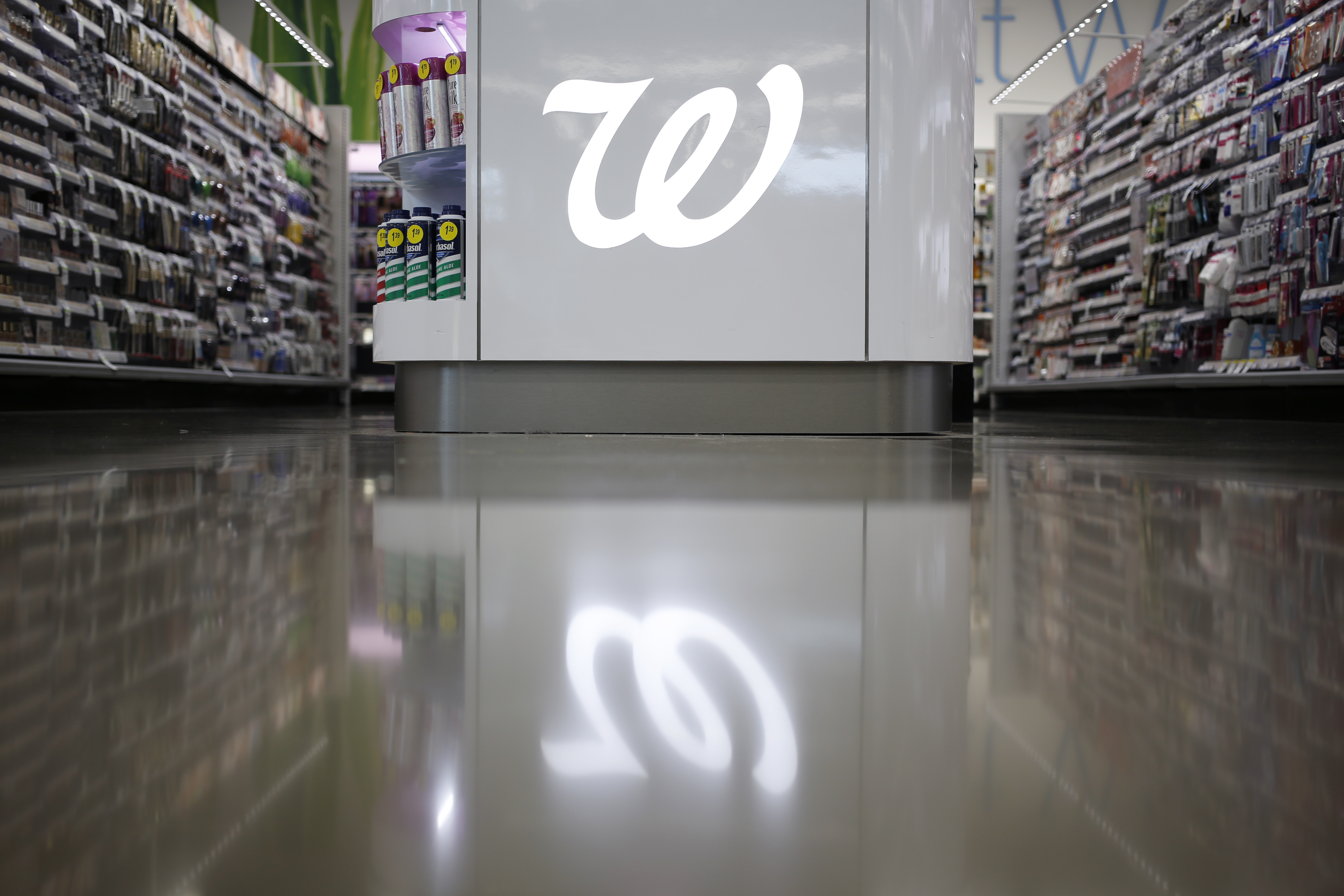 The Walgreen Co. logo is displayed in the cosmetics section of one of the company's stores in Kentucky.