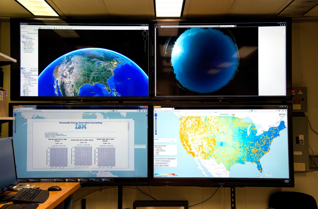 Data sources on display in IBM labs used in IBM's solar forecasting technology.