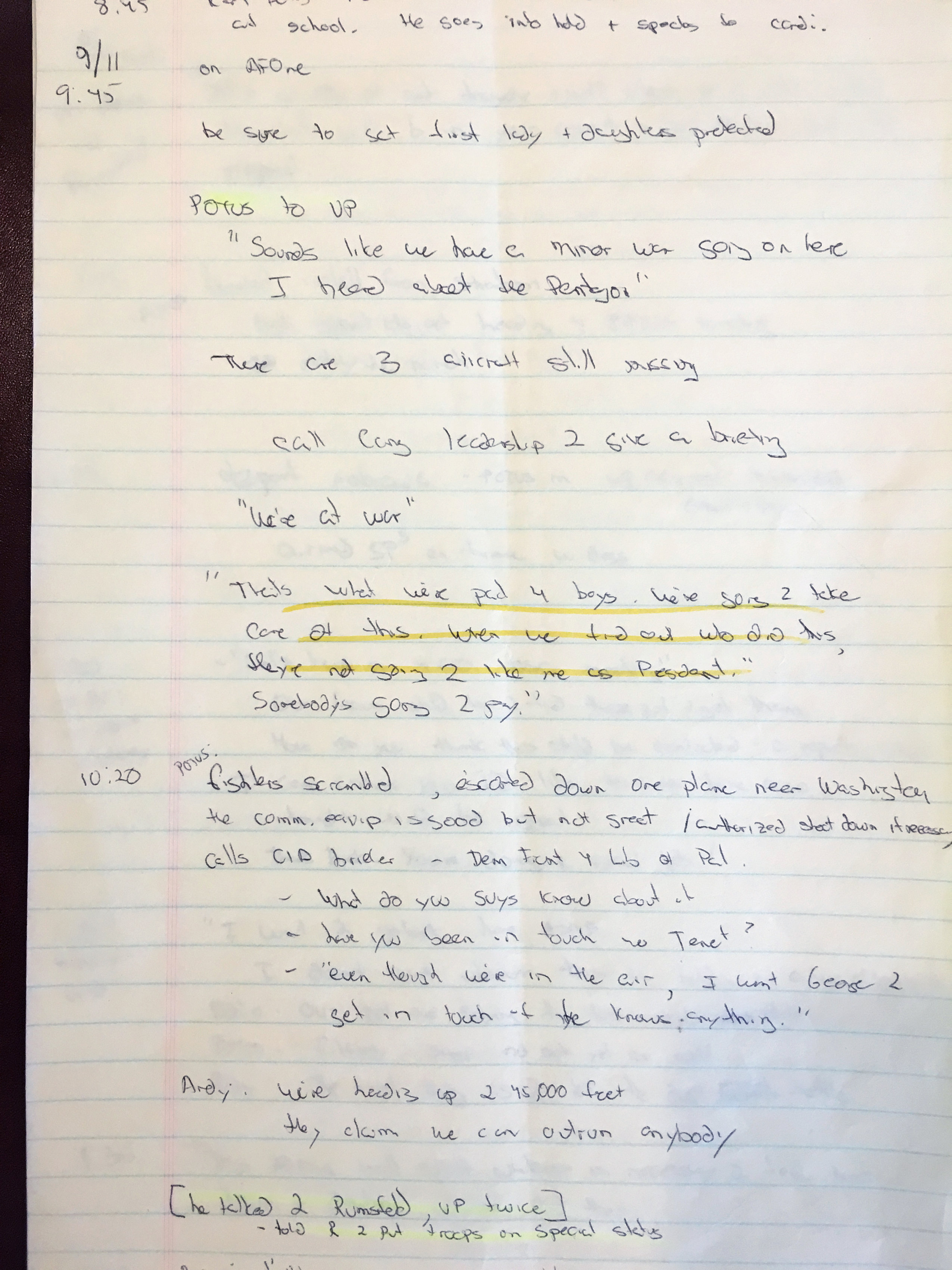 Ari Fleischer's 9/11 notes shown during an interview with Reuters in his office in Bedford