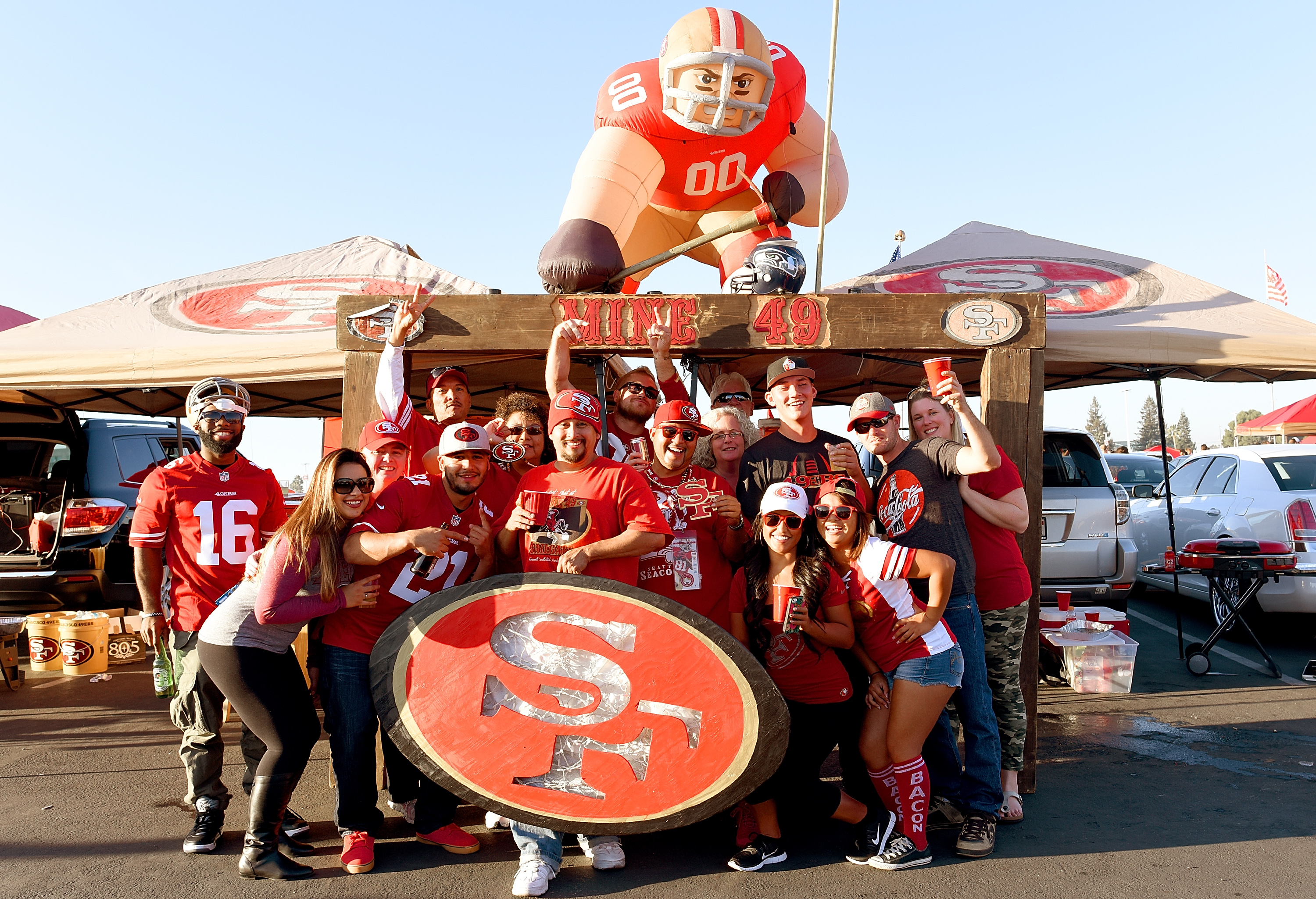 San Francisco 49ers fans tailgate prior to the game against the Seattle Seahawks at Levi's Stadium in California
