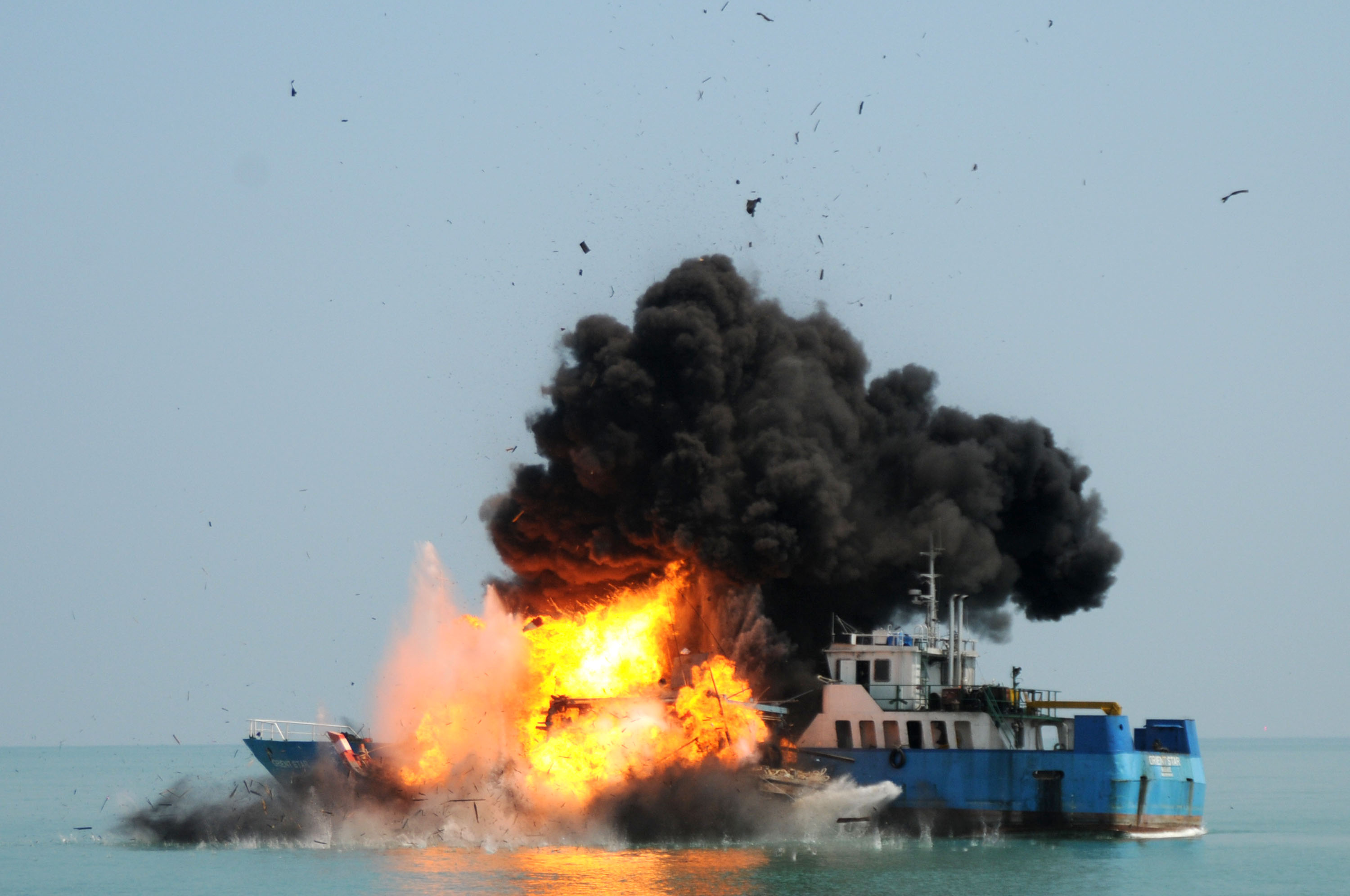 Indonesian Navy Blows Up Illegal Vessels From Malaysia And Belize In North Sumatra