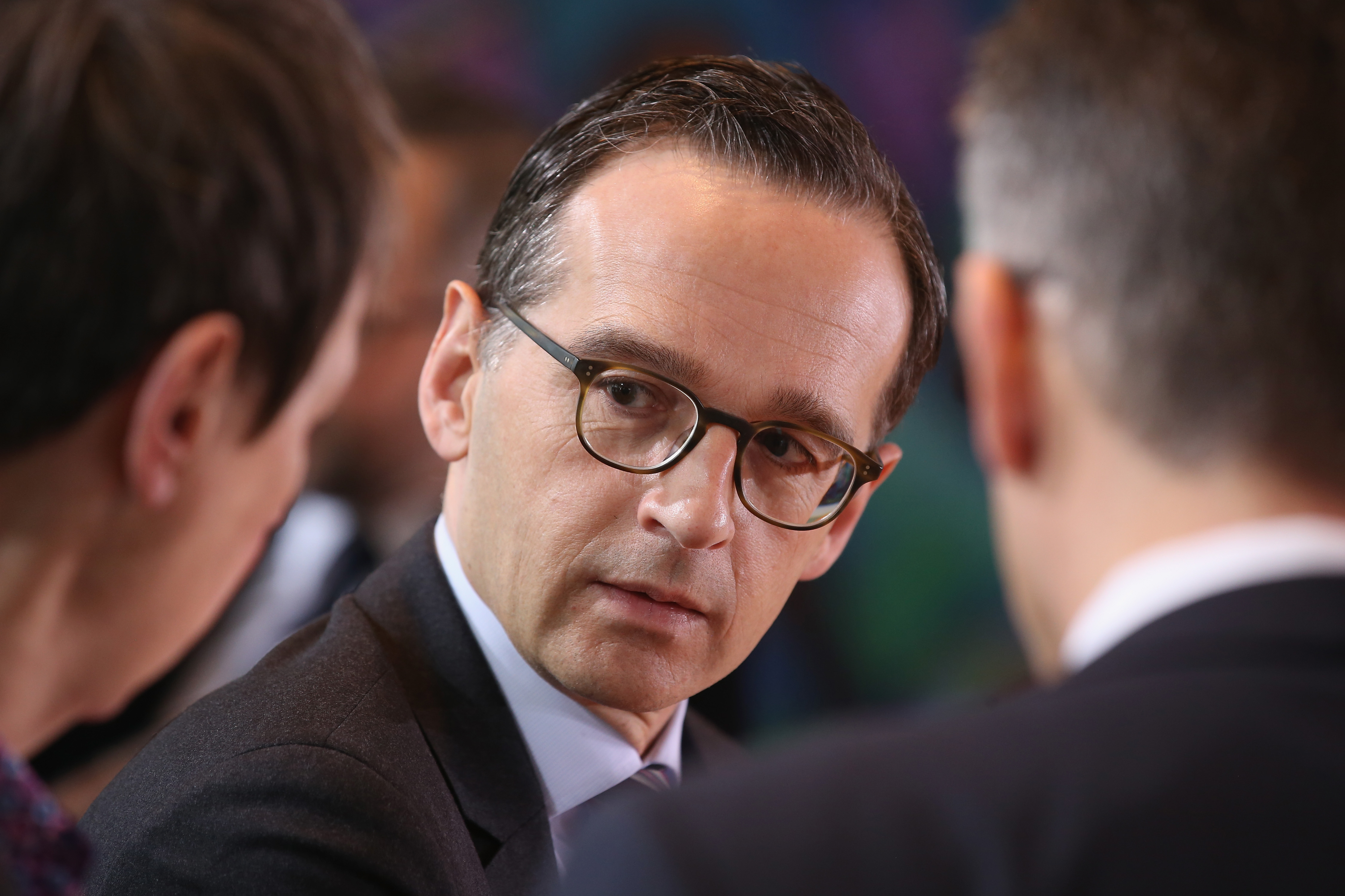 German Justice Minister Heiko Maas arrives for a weekly government cabinet meeting in Germany.