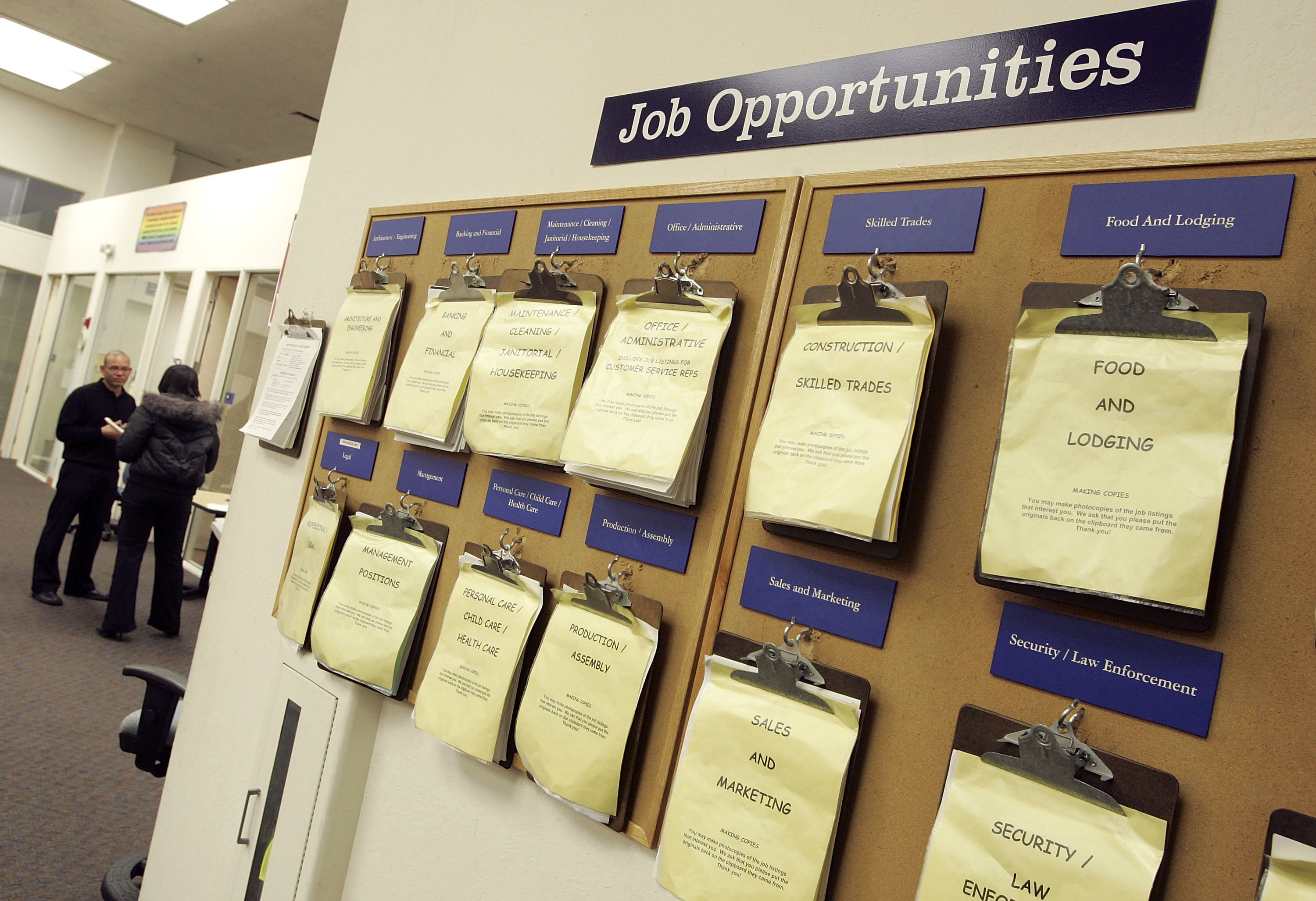 A job listing board hangs at the East Bay Career Center in California.