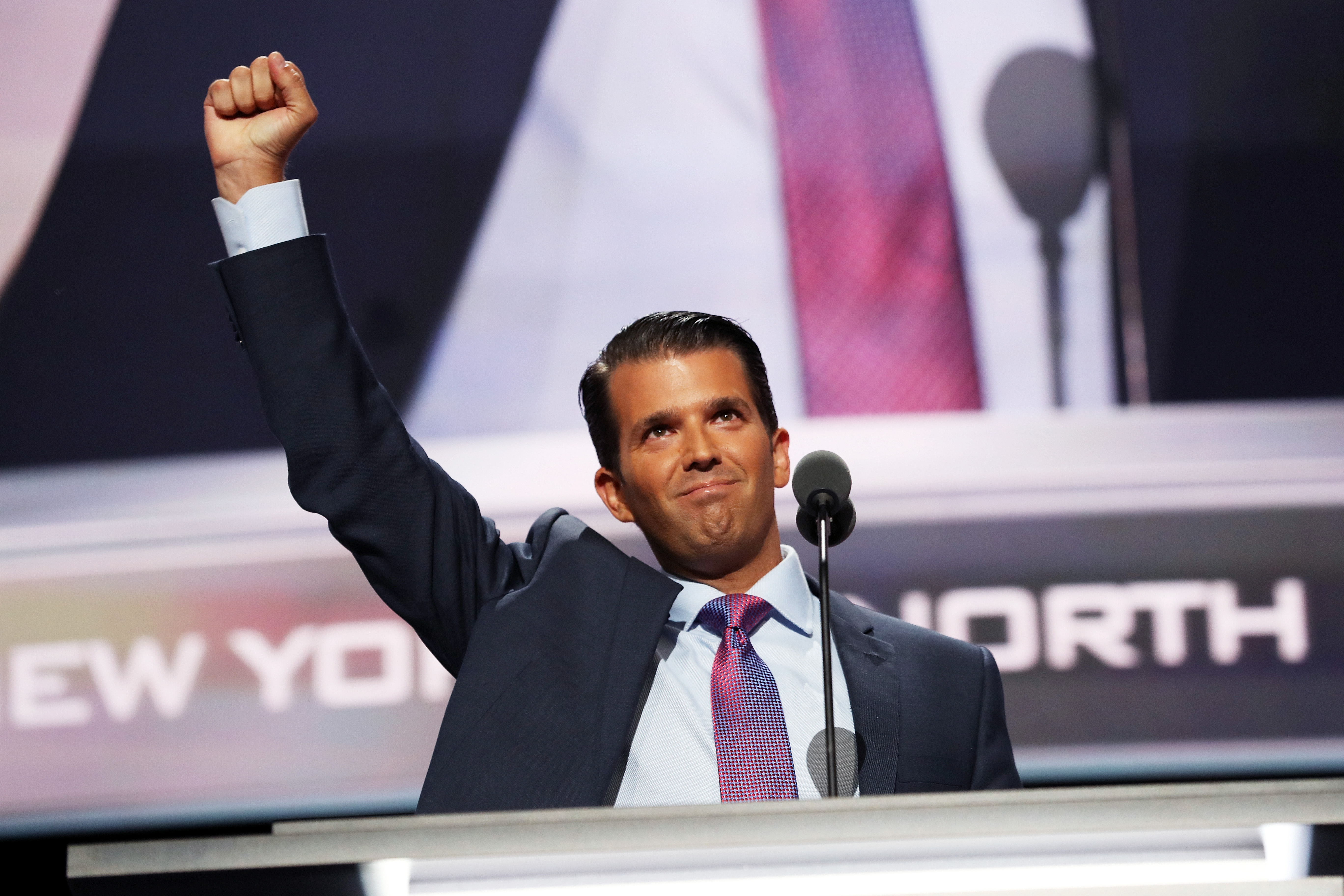 Donald Trump Jr. gestures to a crowd at the Republican National Convention in Cleveland.