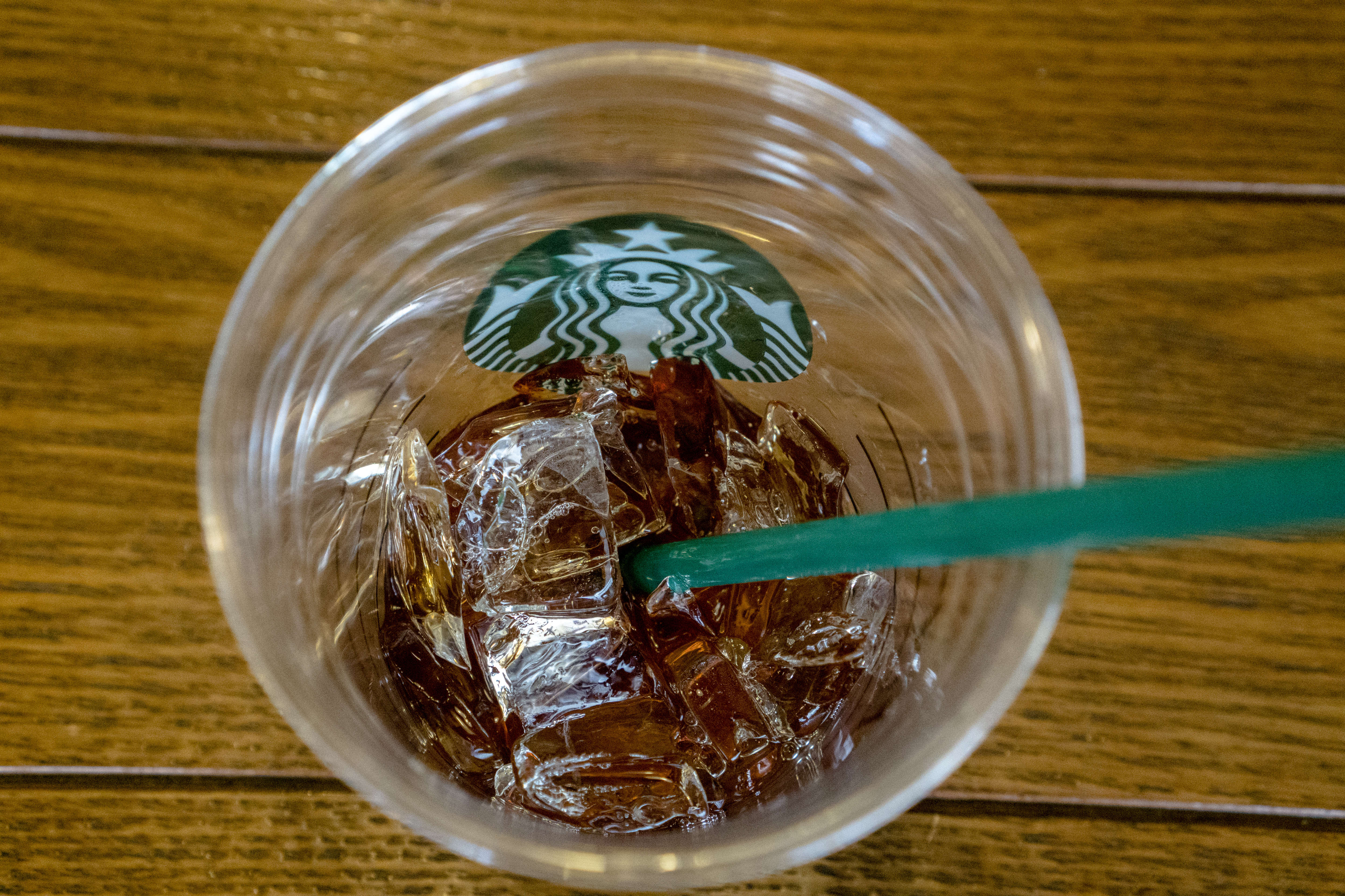 Icy drink in Starbucks coffee shop.  During the third