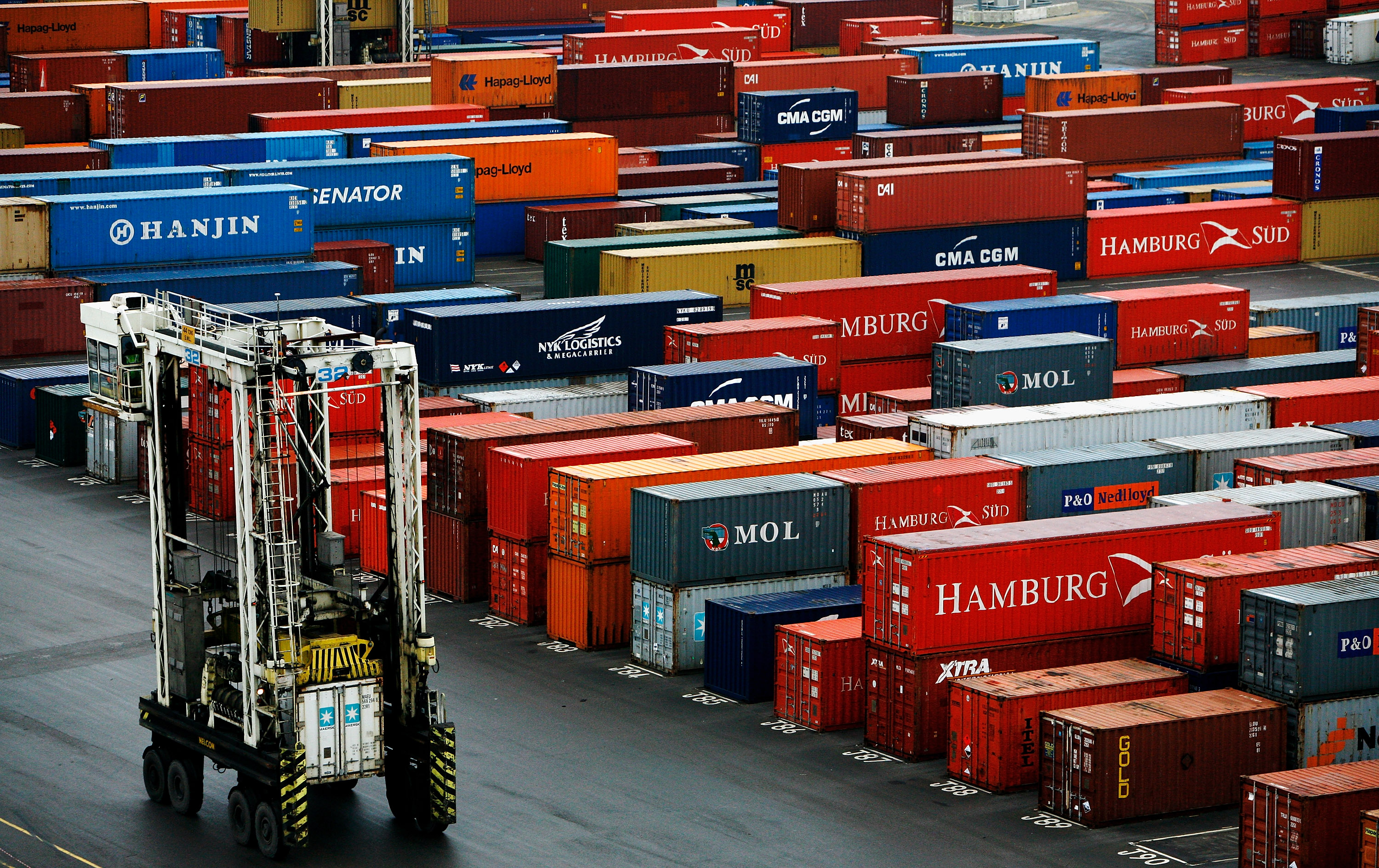 Container Ships Unload At Tilbury Port