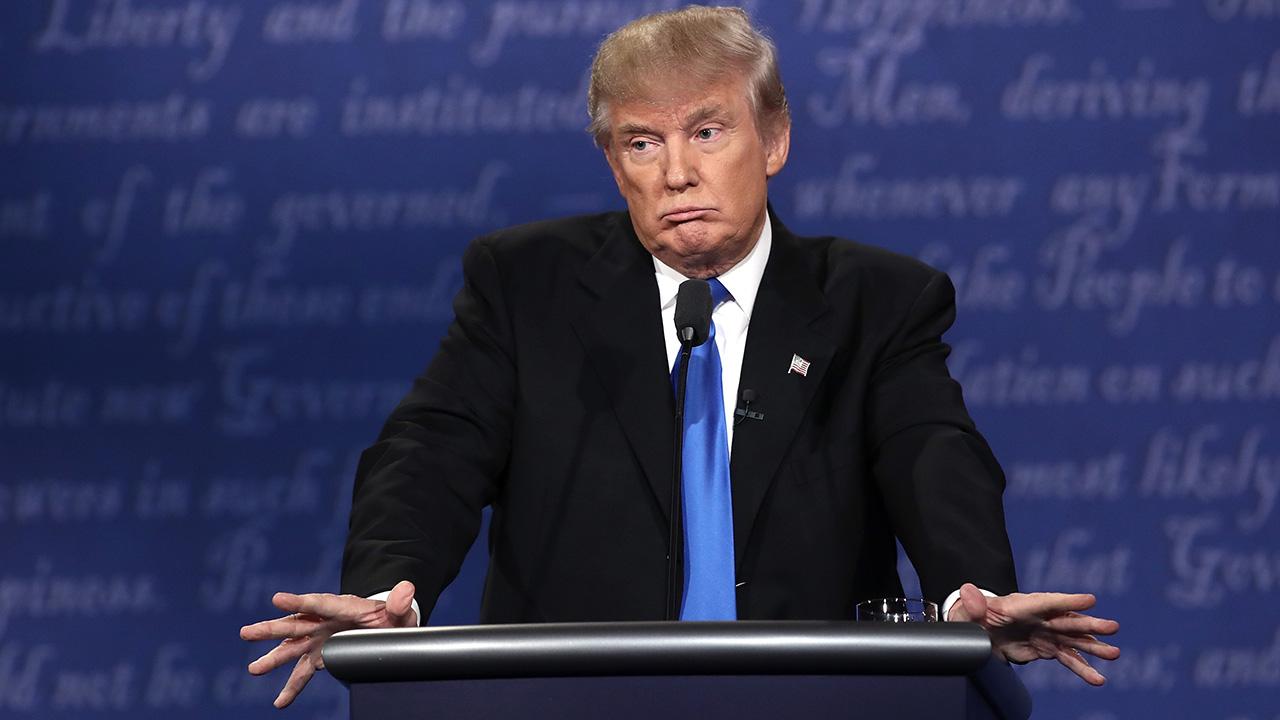 Donald Trump at the presidential debate last night at Hofstra University.