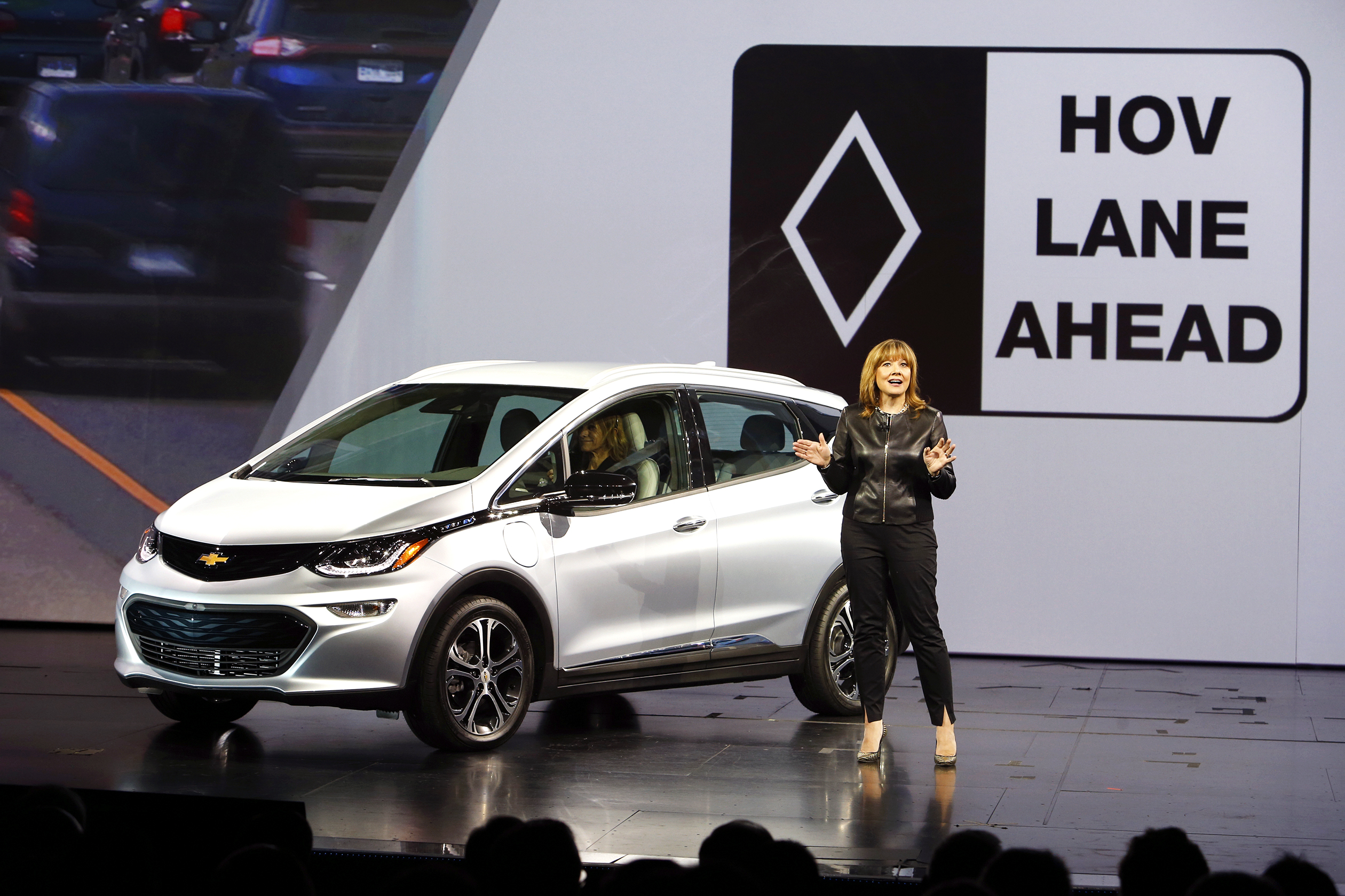 General Motors Chairman and CEO Mary Barra unveils the 2017 Chevrolet Bolt EV during a keynote address at the 2016 CES trade show in Las Vegas