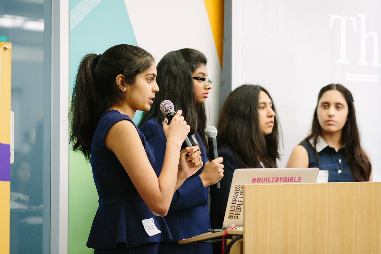 #BuiltByGirls Challenge finalists, the HeadsUp Tech team.