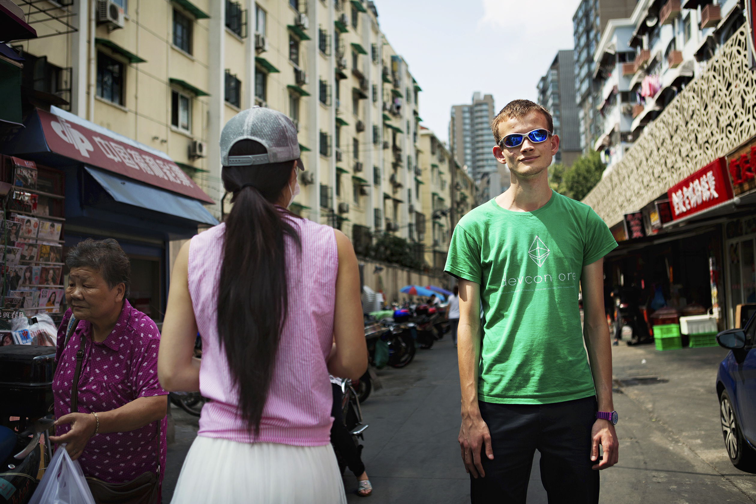 BRIGHT FUTURE: Buterin on a street in Shanghai on Sept. 13, days before he hosted an Ethereum conference.