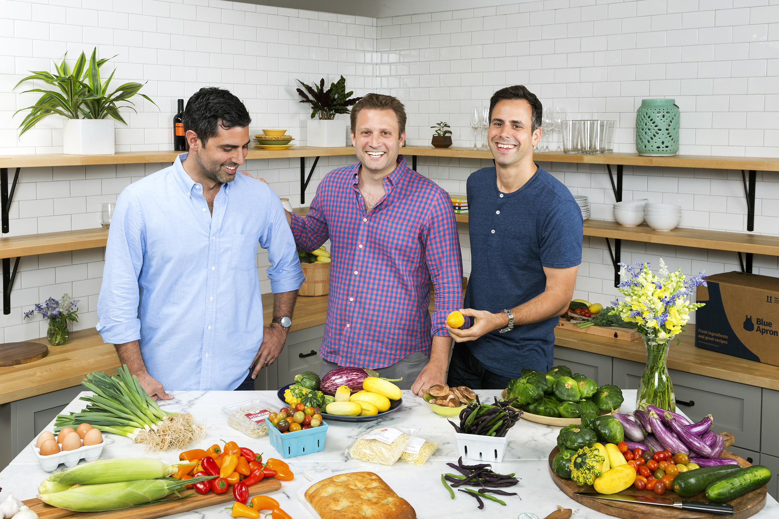Too many cooks? Cofounders (from left) Papas, Salzberg, and Wadiak bring unique skills to perfect the Blue Apron recipe.