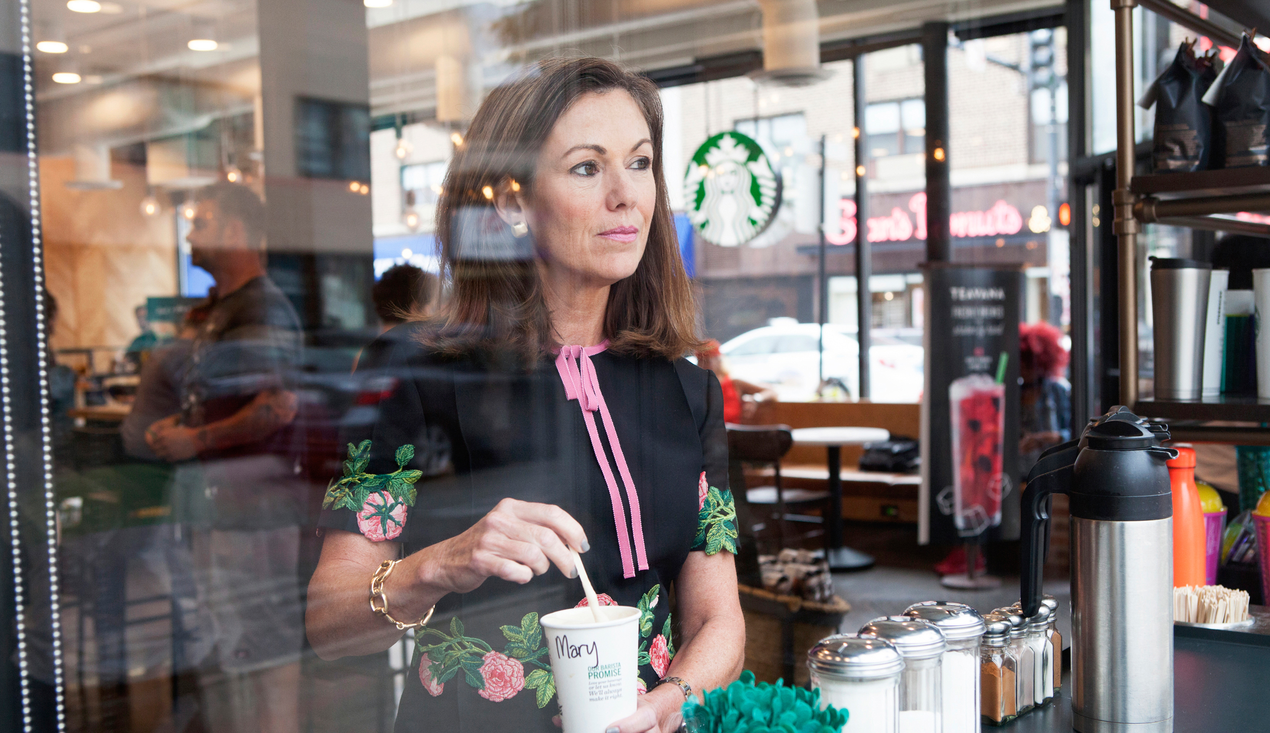 7:02 a.m. Dillon at a Starbucks in Naperville Ill. She recently joined the company's board
