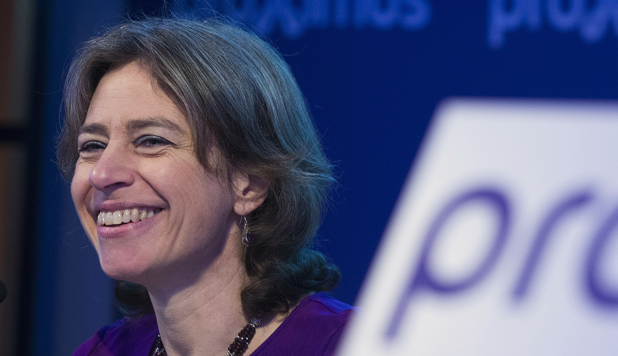 Proximus CEO Dominique Leroy presents the company's 2015 results during a news conference in Brussels