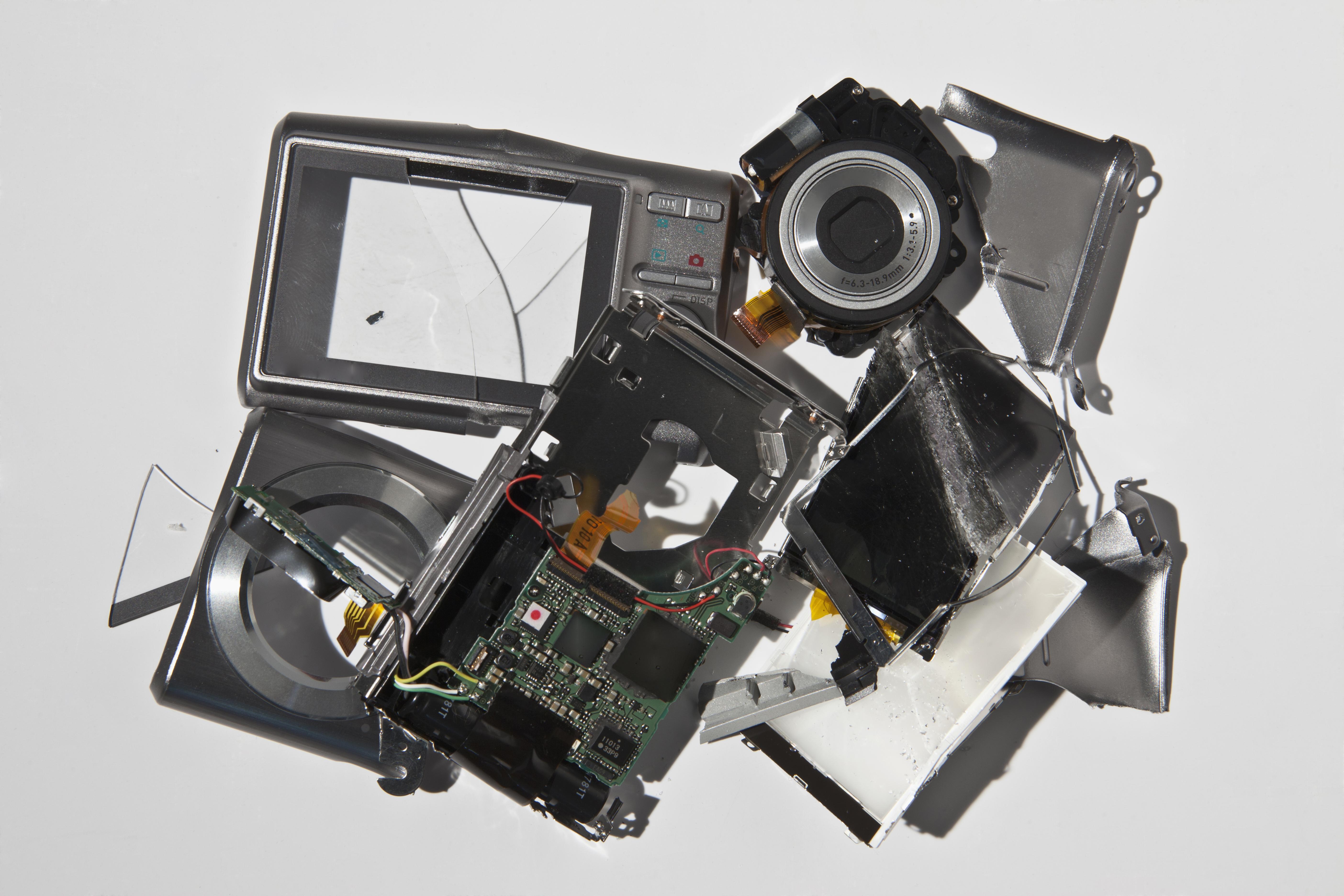 Pile of smashed camera parts