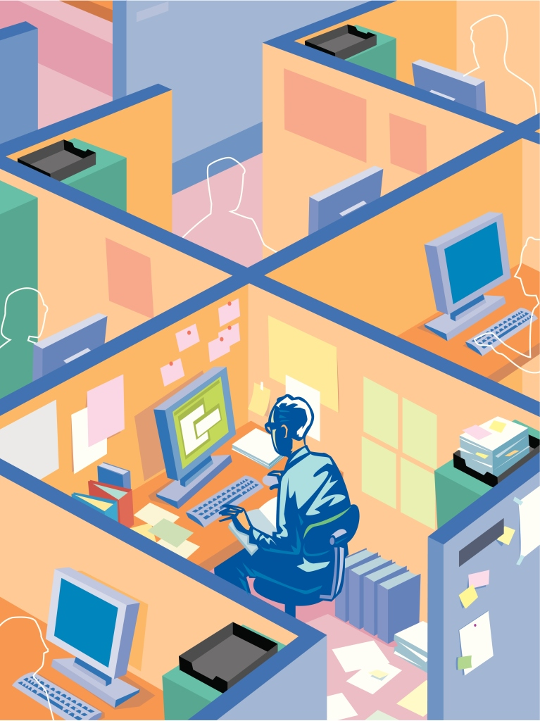 A man working in a cubicle with outlines of co-workers in the cubicles around him