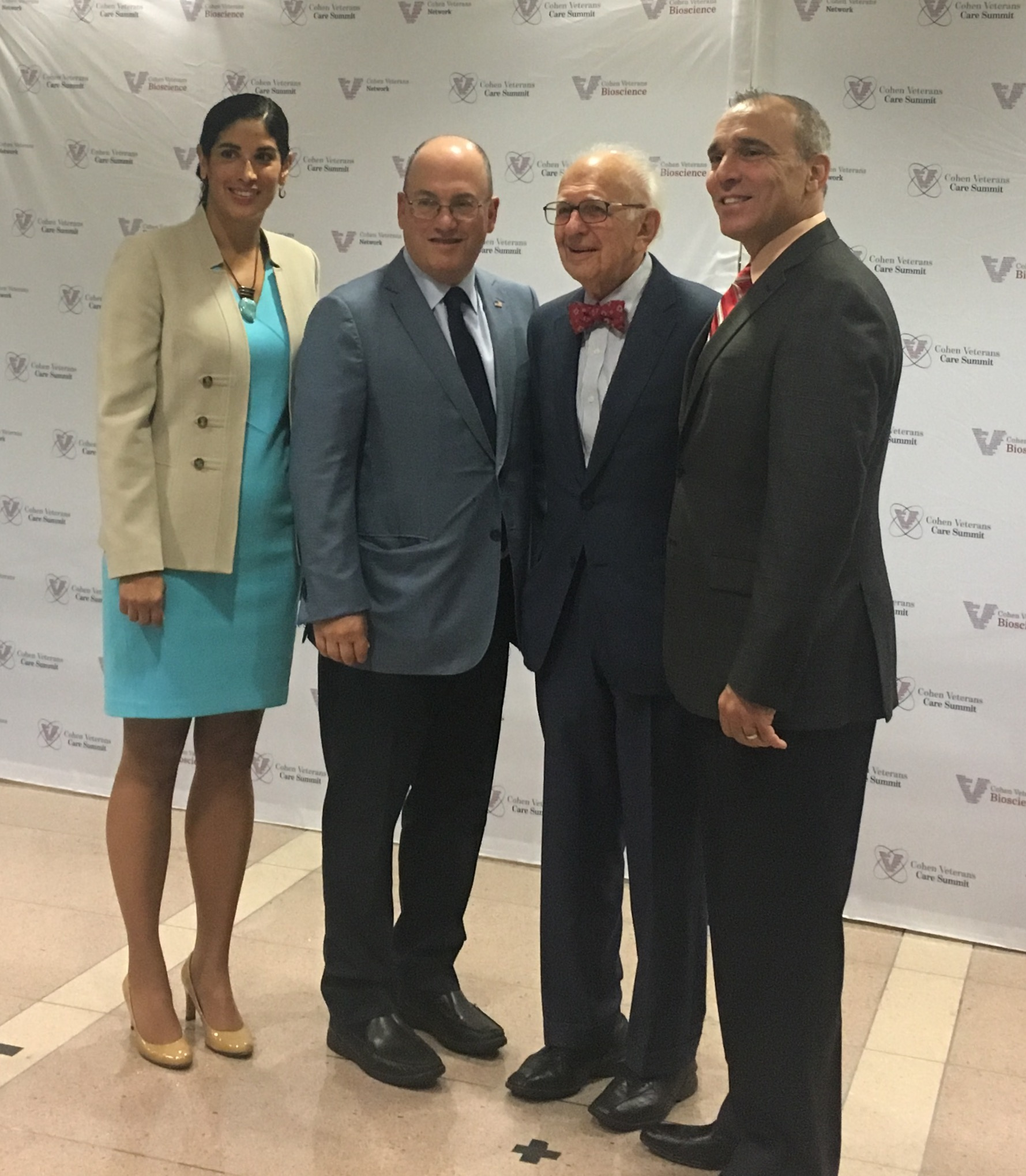 Dr. Magali Haas, CEO of Cohen Veterans Bioscience; Steven A. Cohen, CEO of Point72; Eric Kandel, professor at Columbia; and Anthony Hassan, CEO of Cohen Veterans Network, at the inaugural Cohen Veterans Care Summit at the Ronald Reagan Building in Washington, D.C. on Sept. 22, 2016.