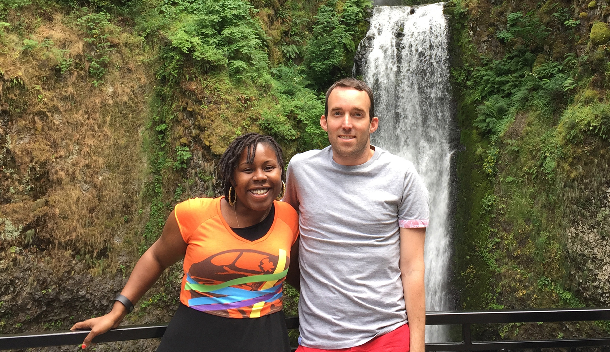 Fortune reporter John Kell (right) and his friend Malika while on their Portland, Oregon trip.