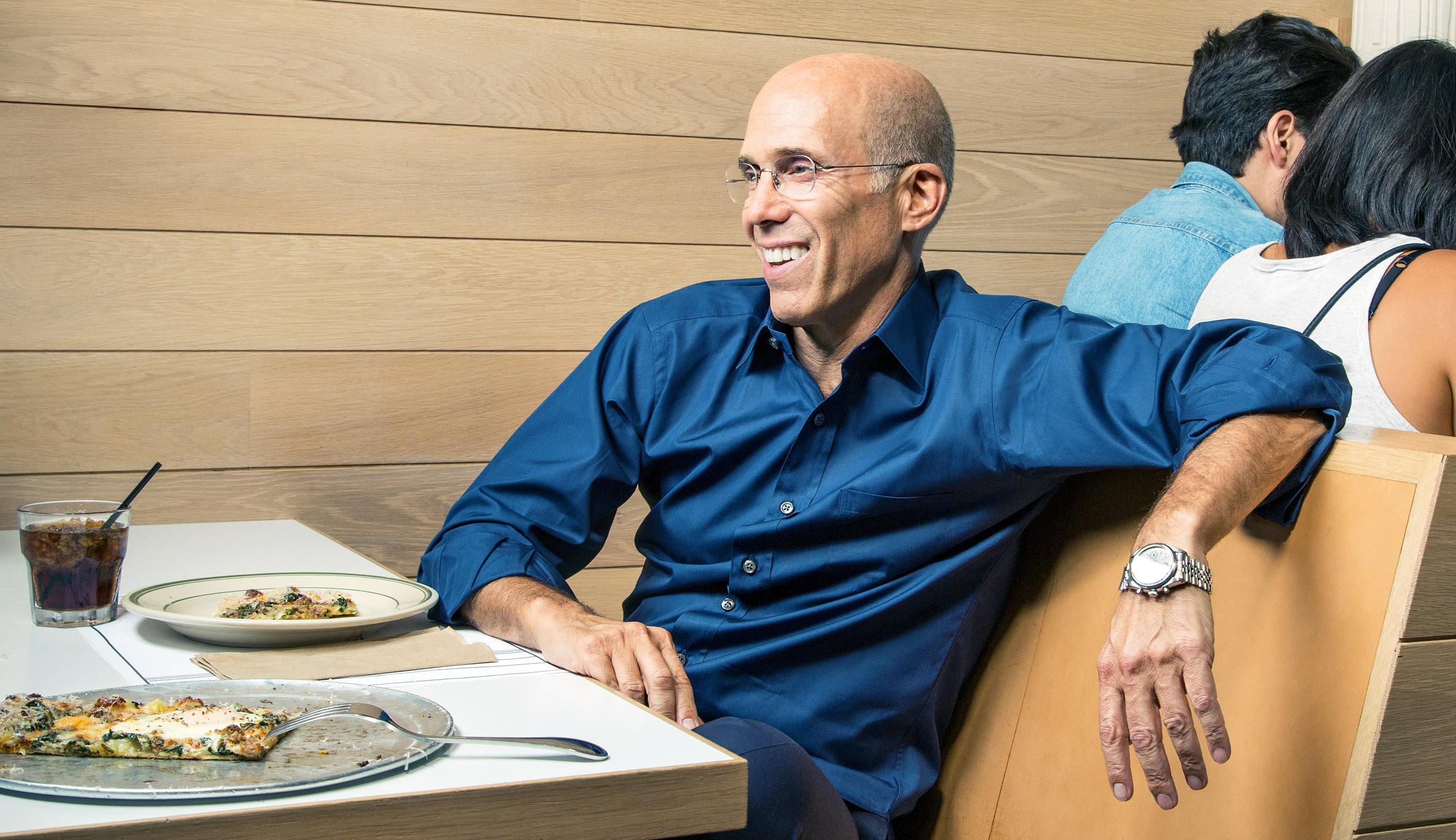 "Let's Do Breakfast: Katzenberg holds court over ""breakfast pizza"" at Los Angeles eatery Jon & Vinny's, where the former studio head has been holding back-to-back morning meetings as he prepares to launch a new investment firm."