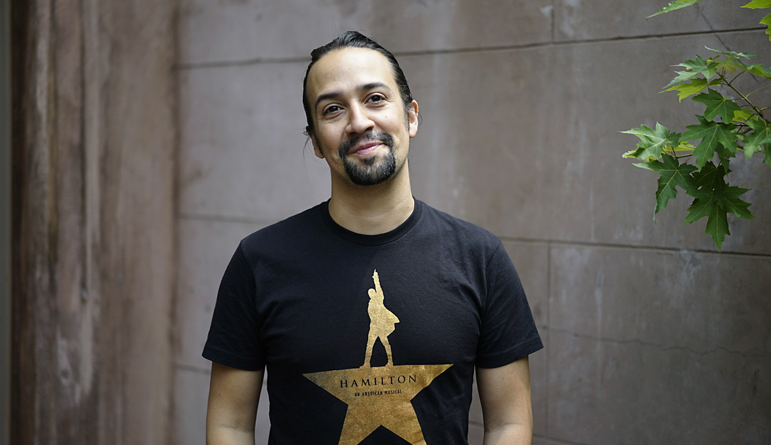 "Lin-Manuel Miranda, a Tony Award-winning composer and star of his musical ""Hamilton,"" near the Richard Rodgers Theater in New York."