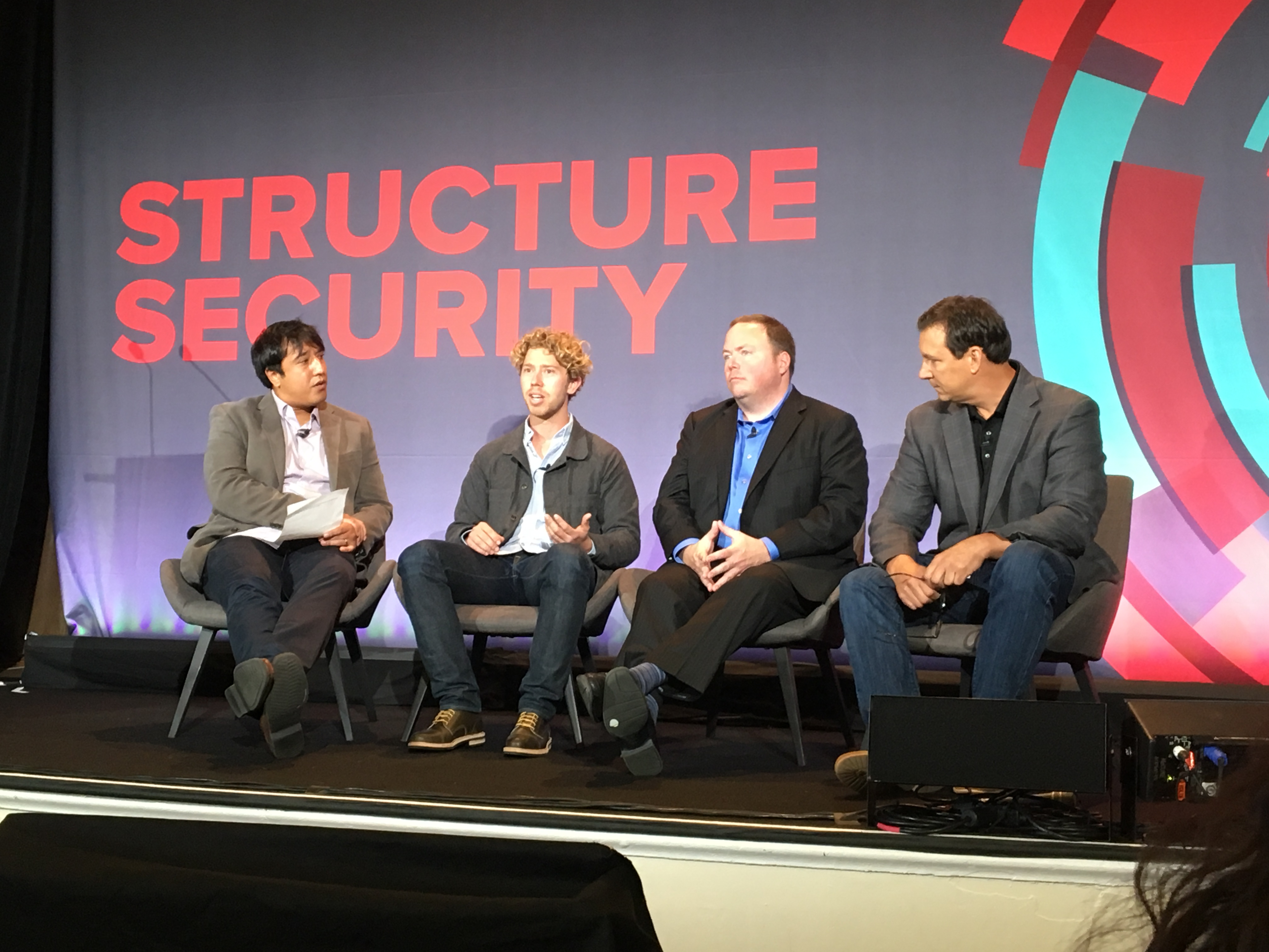 Fortune's Jonathan Vanian with Lookout's Kevin Mahaffey, CloudPassage's Carson Sweet and Mark Terenzoni of Sqrrl at Structure Security Conference on September 28, 2016 in San Francisco.