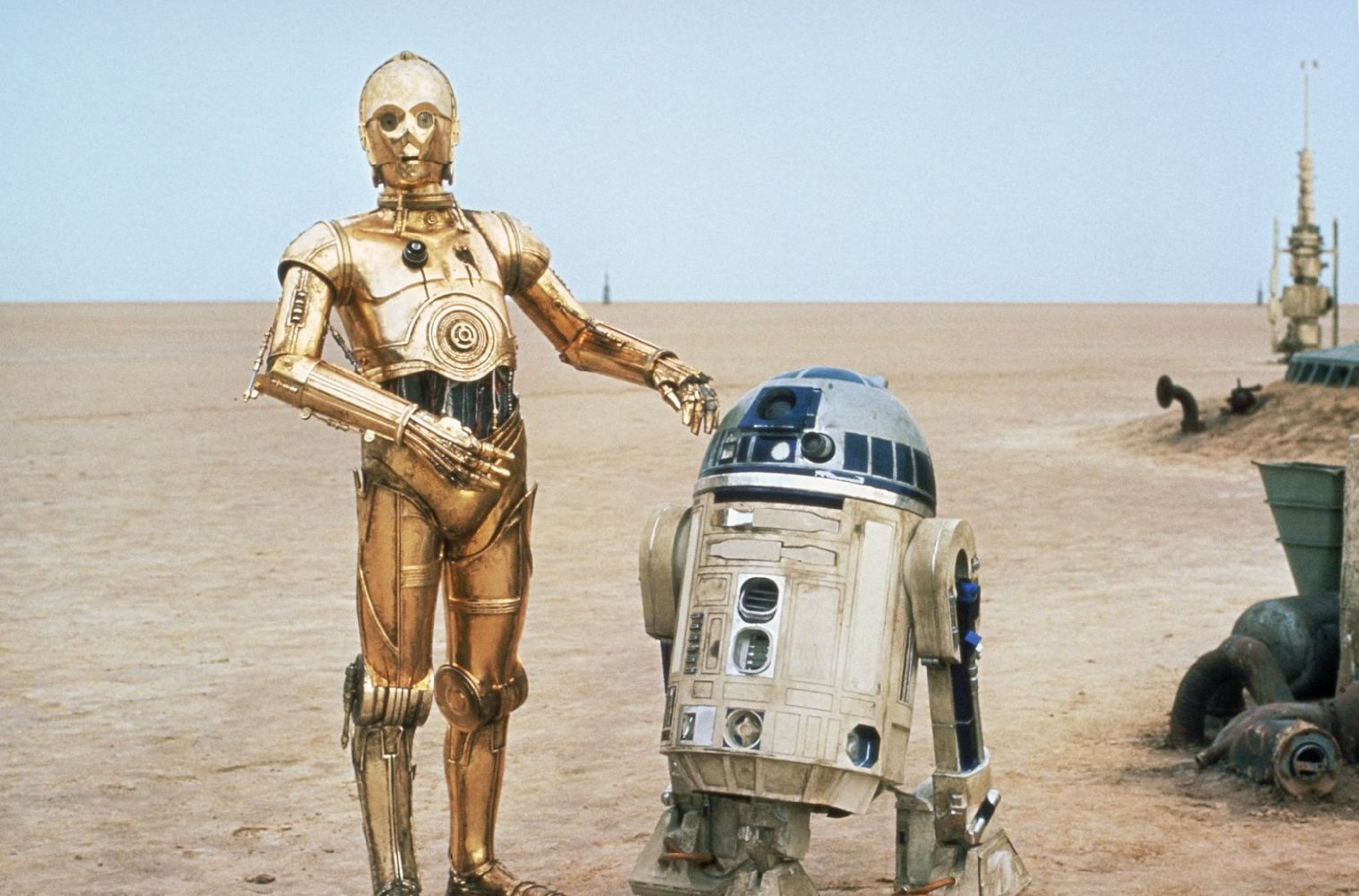 """Star Wars"" robots C-3PO (left) and R2-D2 first appeared in 1977."