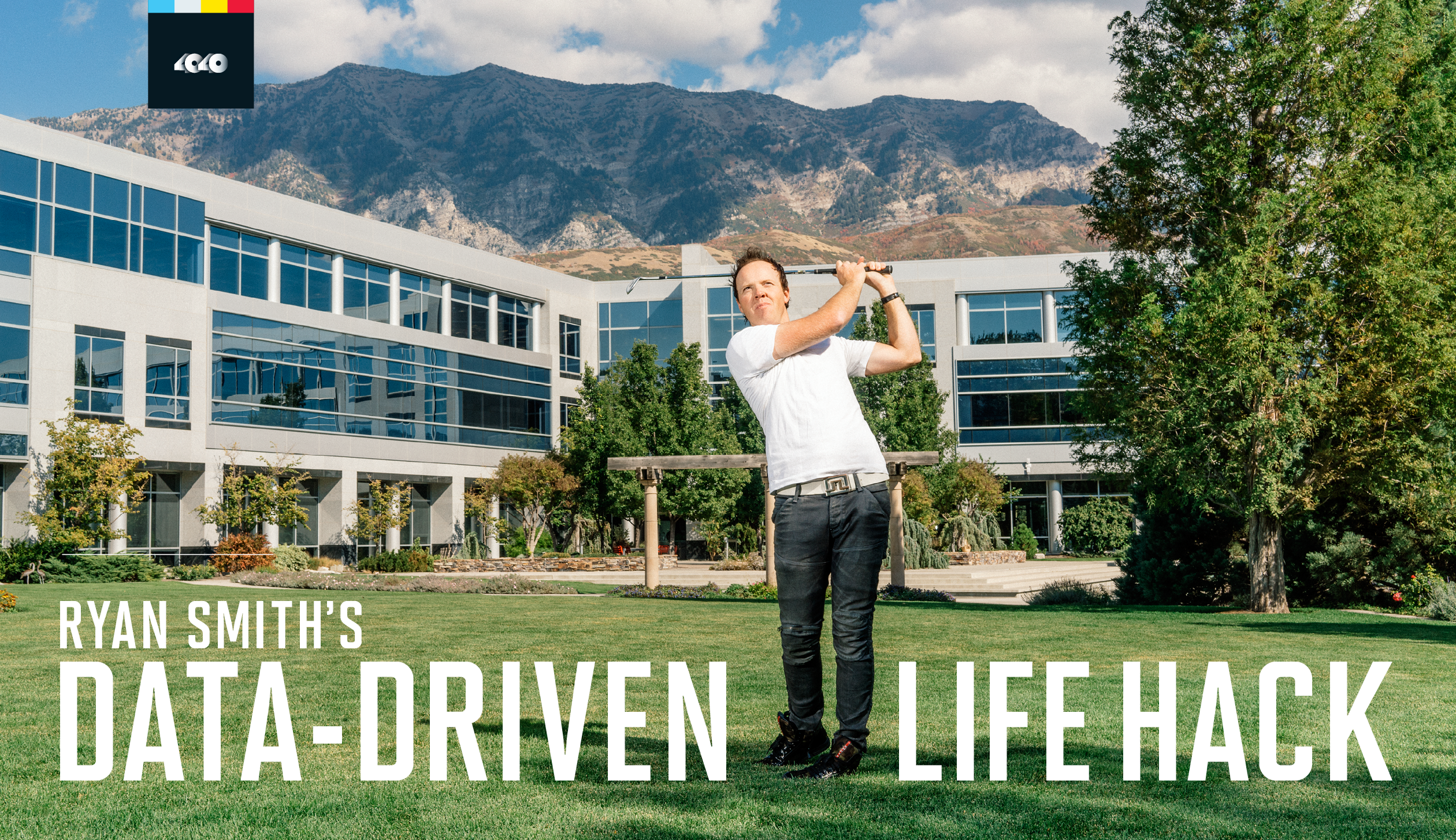 HOME-COURSE ADVANTAGE: Ryan Smith, a two-handicap golfer, takes a practice swing outside Qualtrics's new headquarters, in Provo, Utah.
