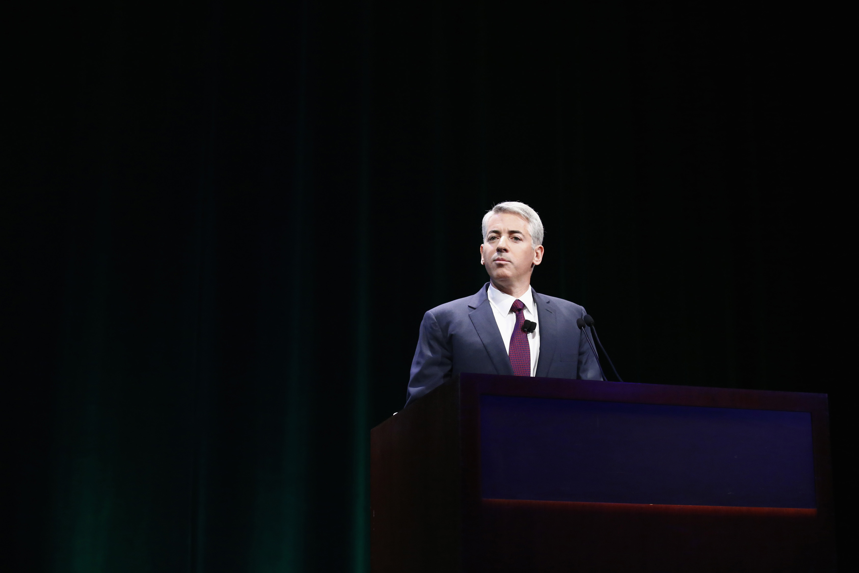 Ackman, founder and CEO of hedge fund Pershing Square Capital Management, speaks to audience in New York