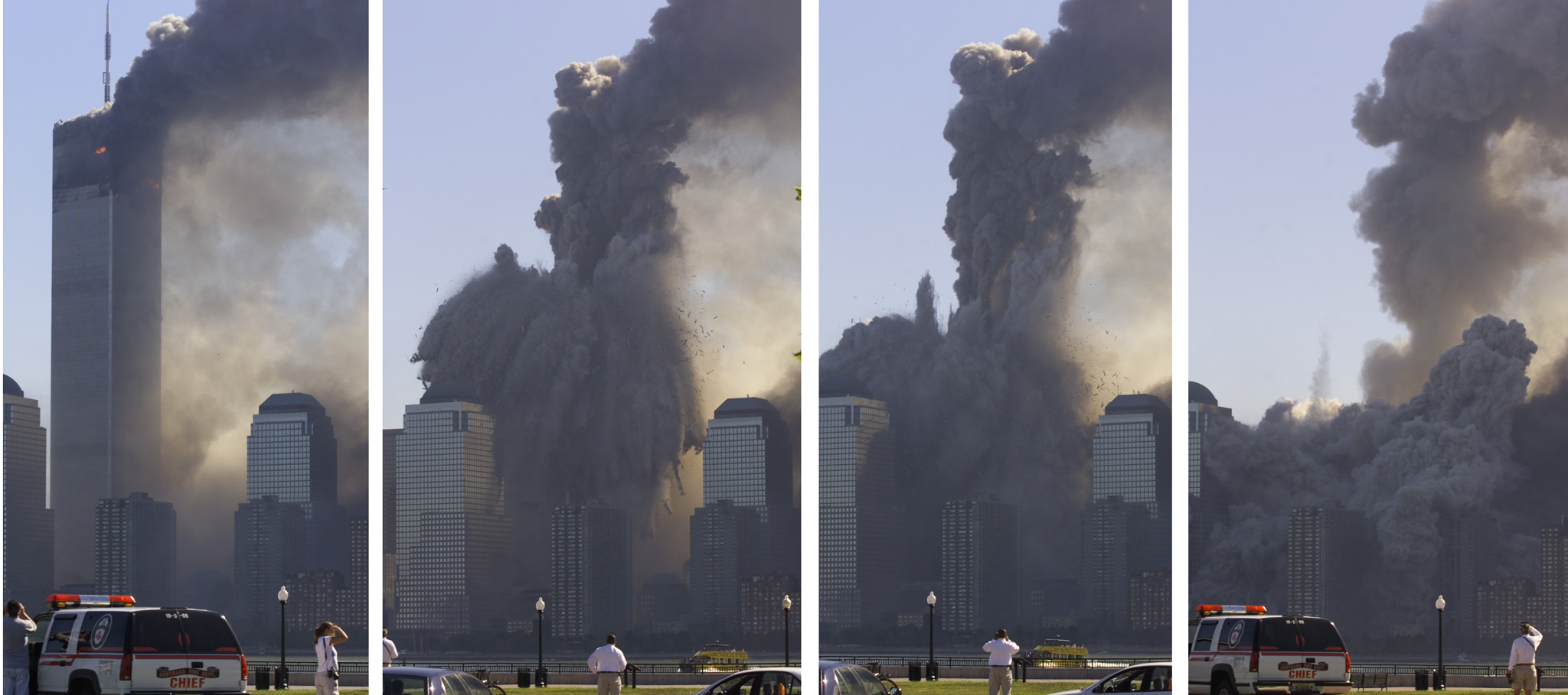 NEW YORK'S WORLD TRADE CENTER COLLAPSES.