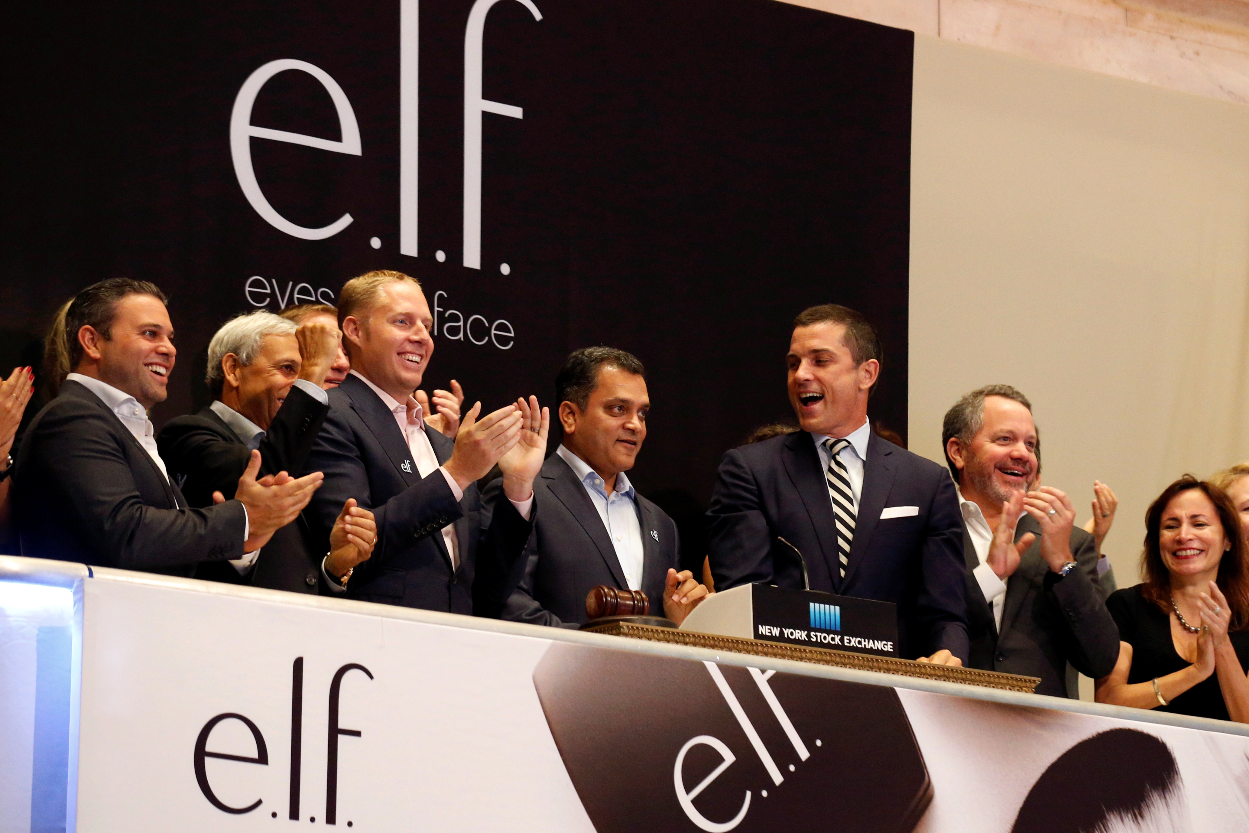CEO of e.l.f. Beauty Inc. Tarang Amin rings the opening bell at the NYSE to celebrate his company's IPO in New York City