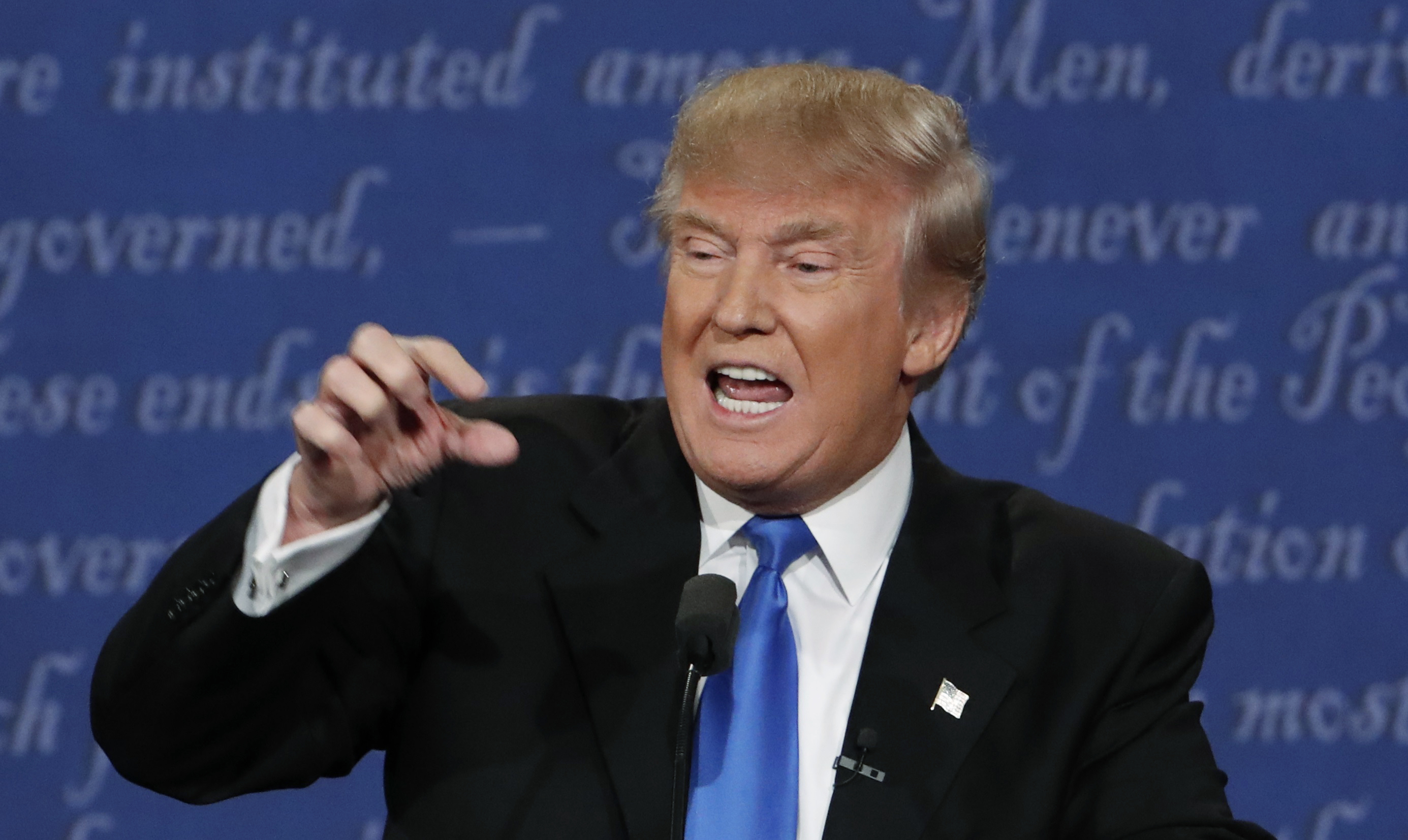 Republican U.S. presidential nominee Donald Trump speaks during first presidential debate at Hofstra University in Hempstead