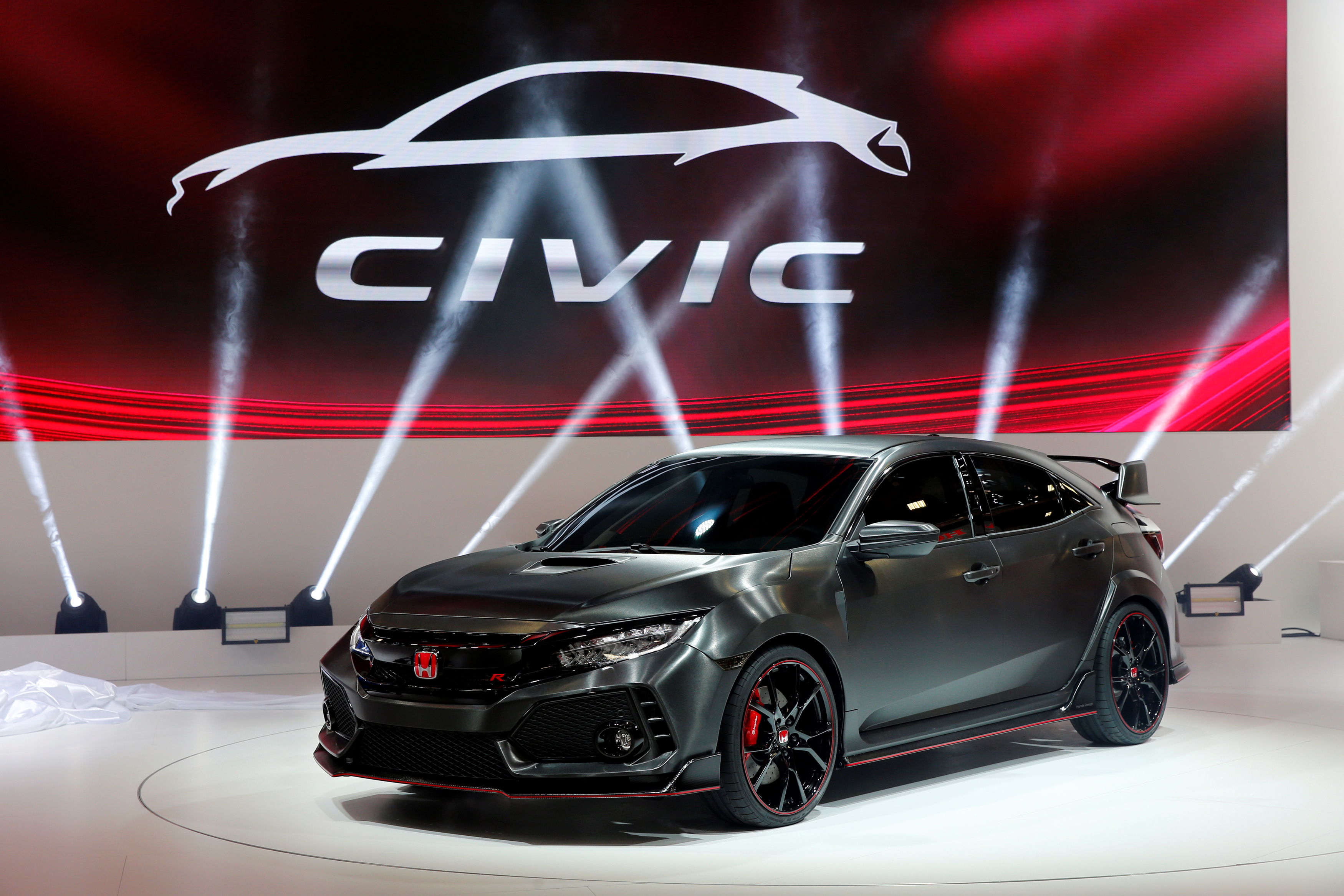 The Honda Civic Type R Prototype is displayed on media day at the Paris auto show, in Paris