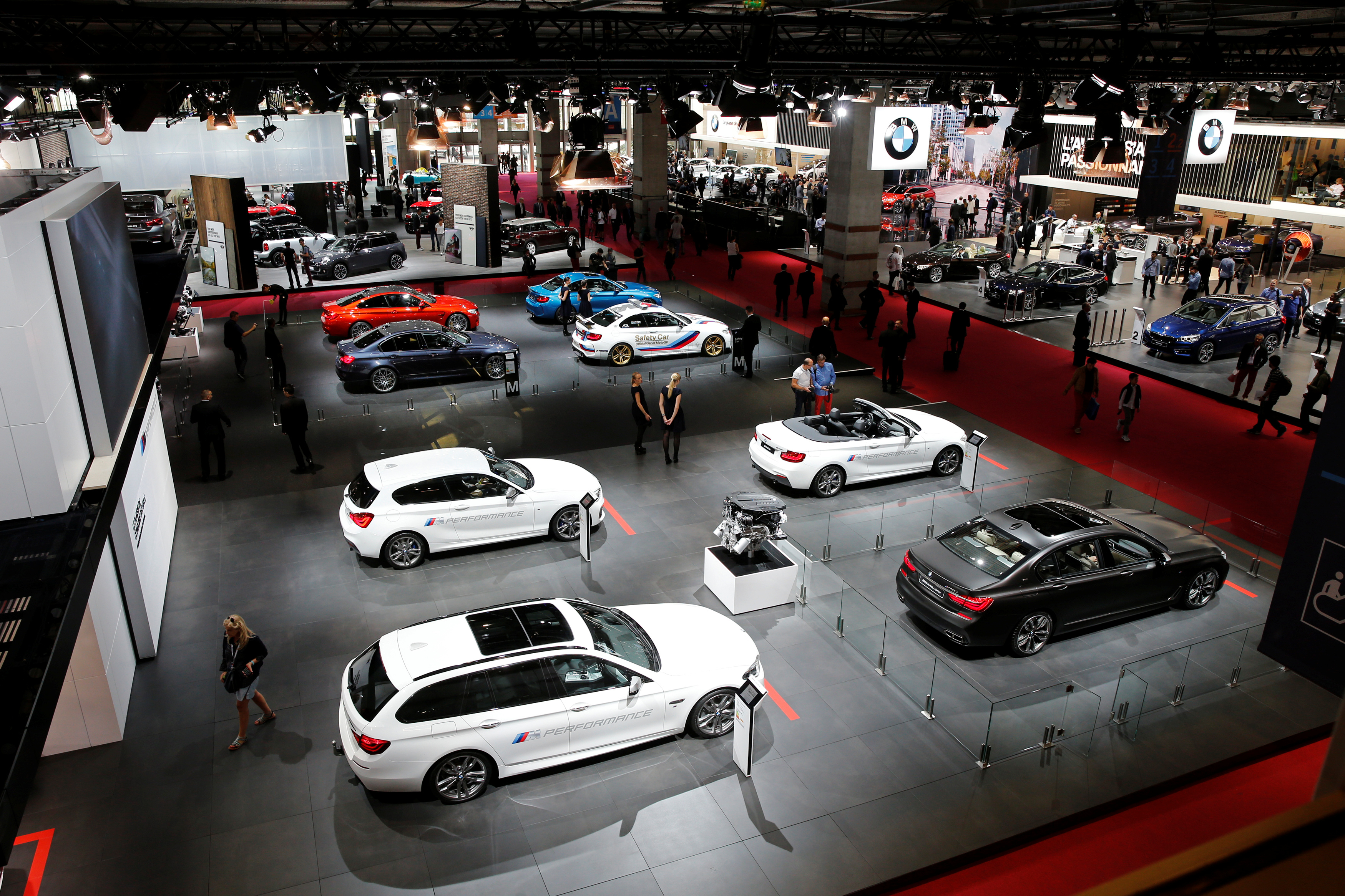 BMW cars are displayed on media day at the Paris auto show, in Paris