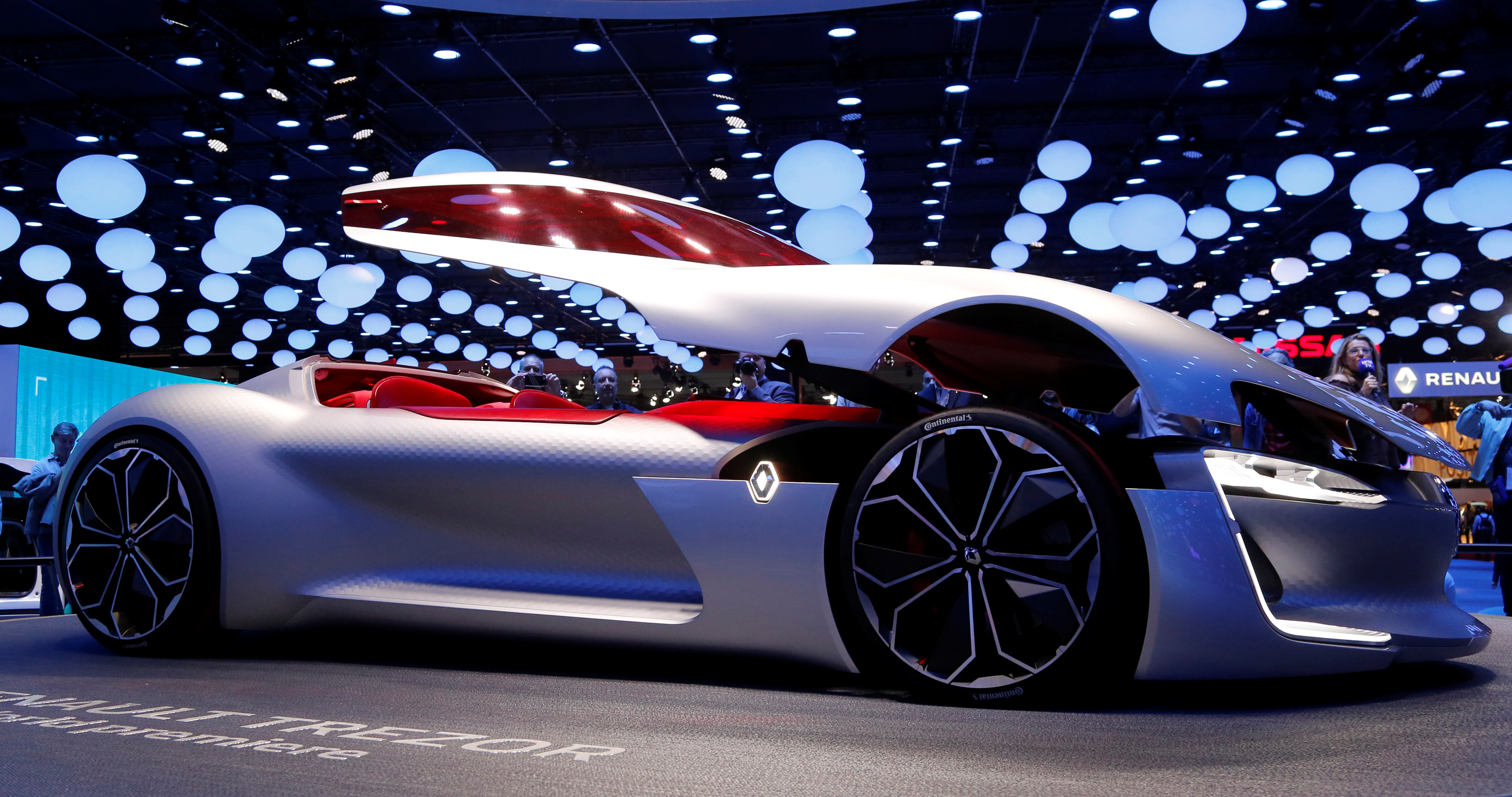 A Renault Trezor car is displayed at the Mondial de l'Automobile, Paris auto show, during media day in Paris