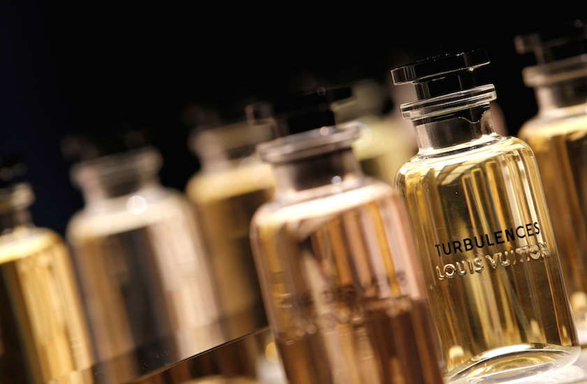 The new collection of bottles of perfume is seen as Louis Vuitton launches seven fragrances in Paris