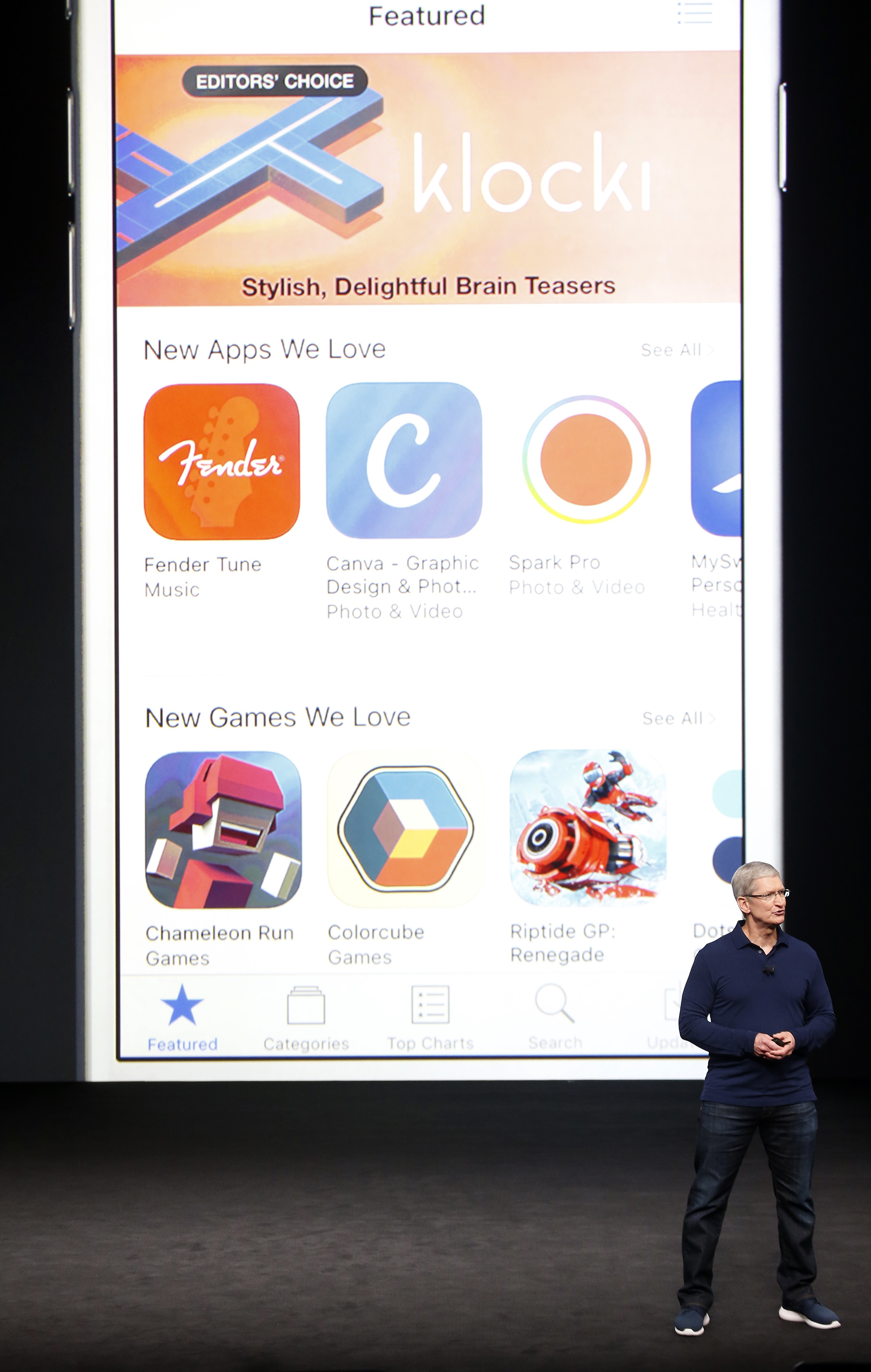 Apple Inc CEO Tim Cook discusses the App Store during an Apple media event in San Francisco