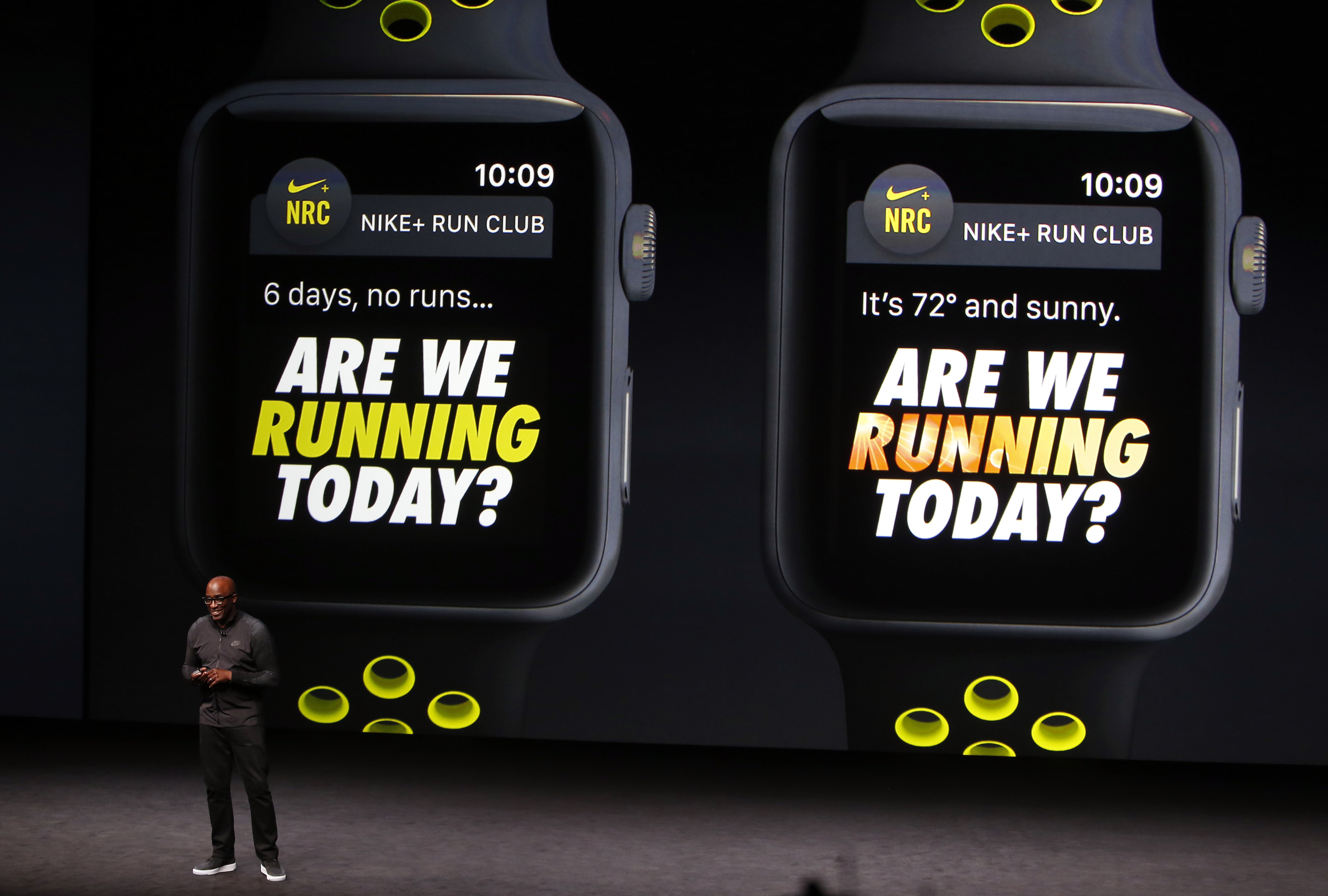 Trevor Edwards discusses the Apple Watch with Nike+ during a media event in San Francisco
