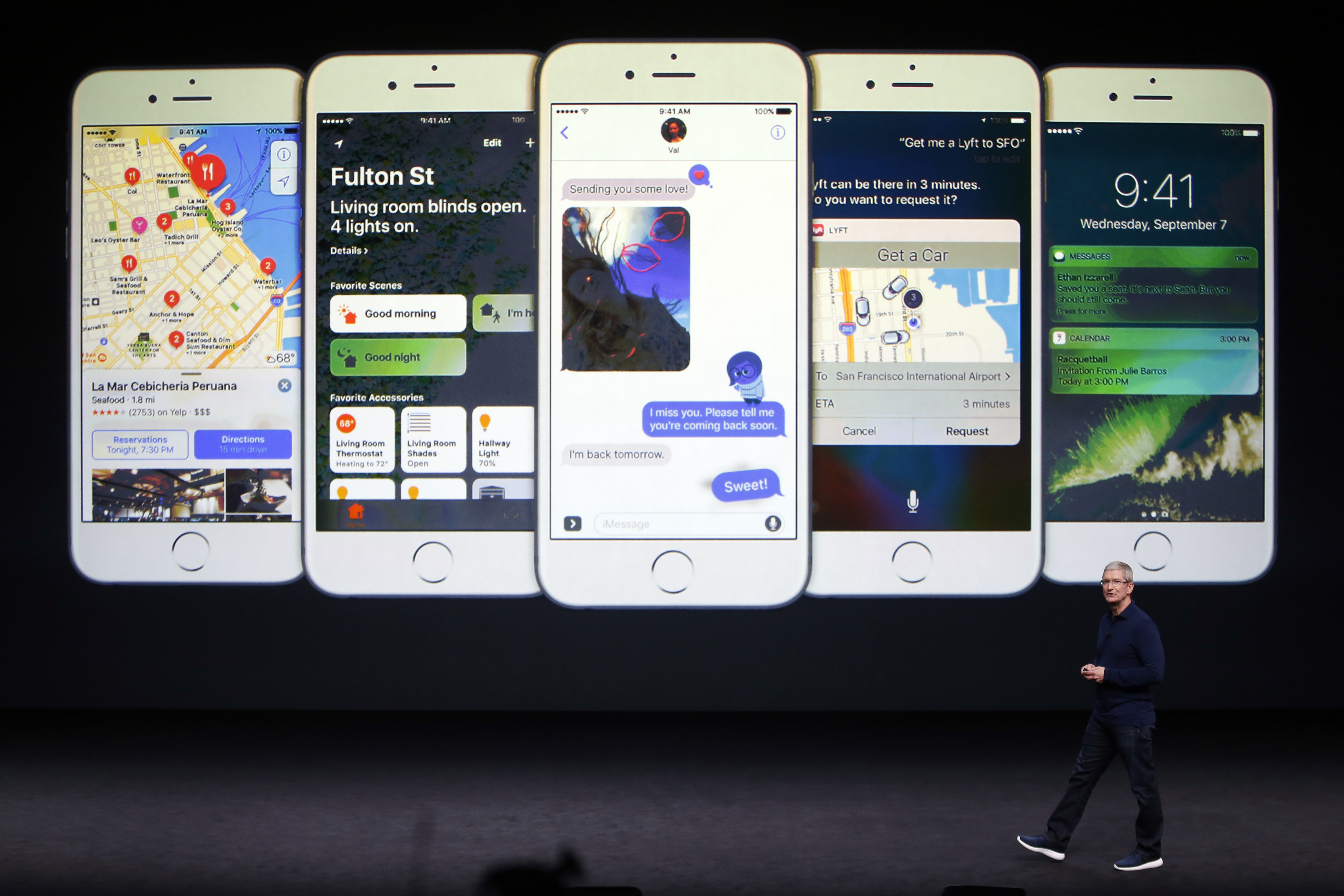 Tim Cook discusses the iPhone during an Apple media event in San Francisco