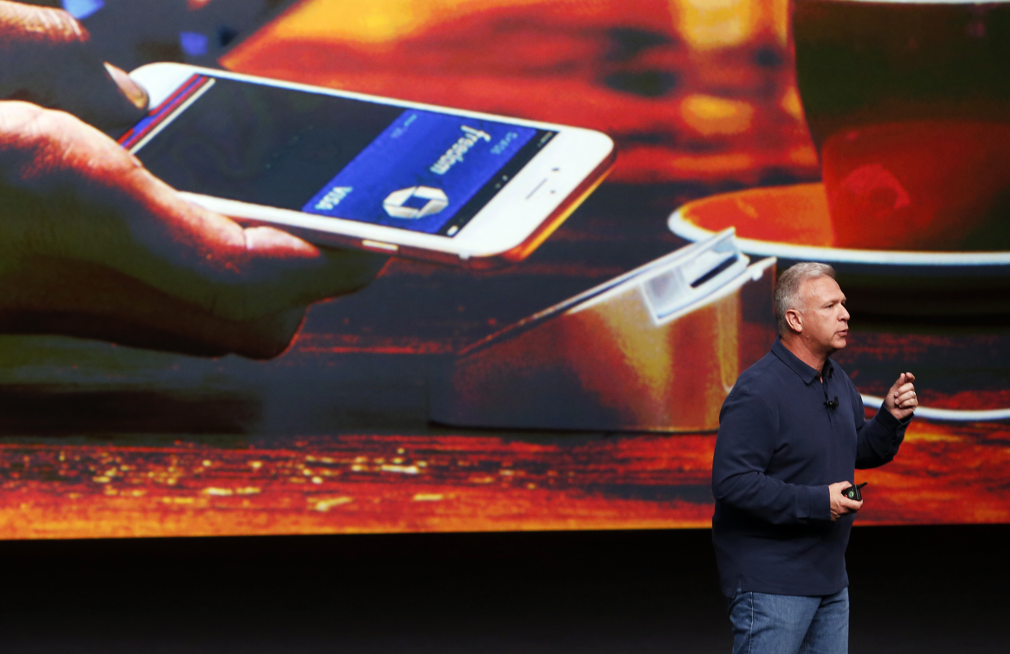 Phil Schiller discusses Apple Pay during a media event in San Francisco