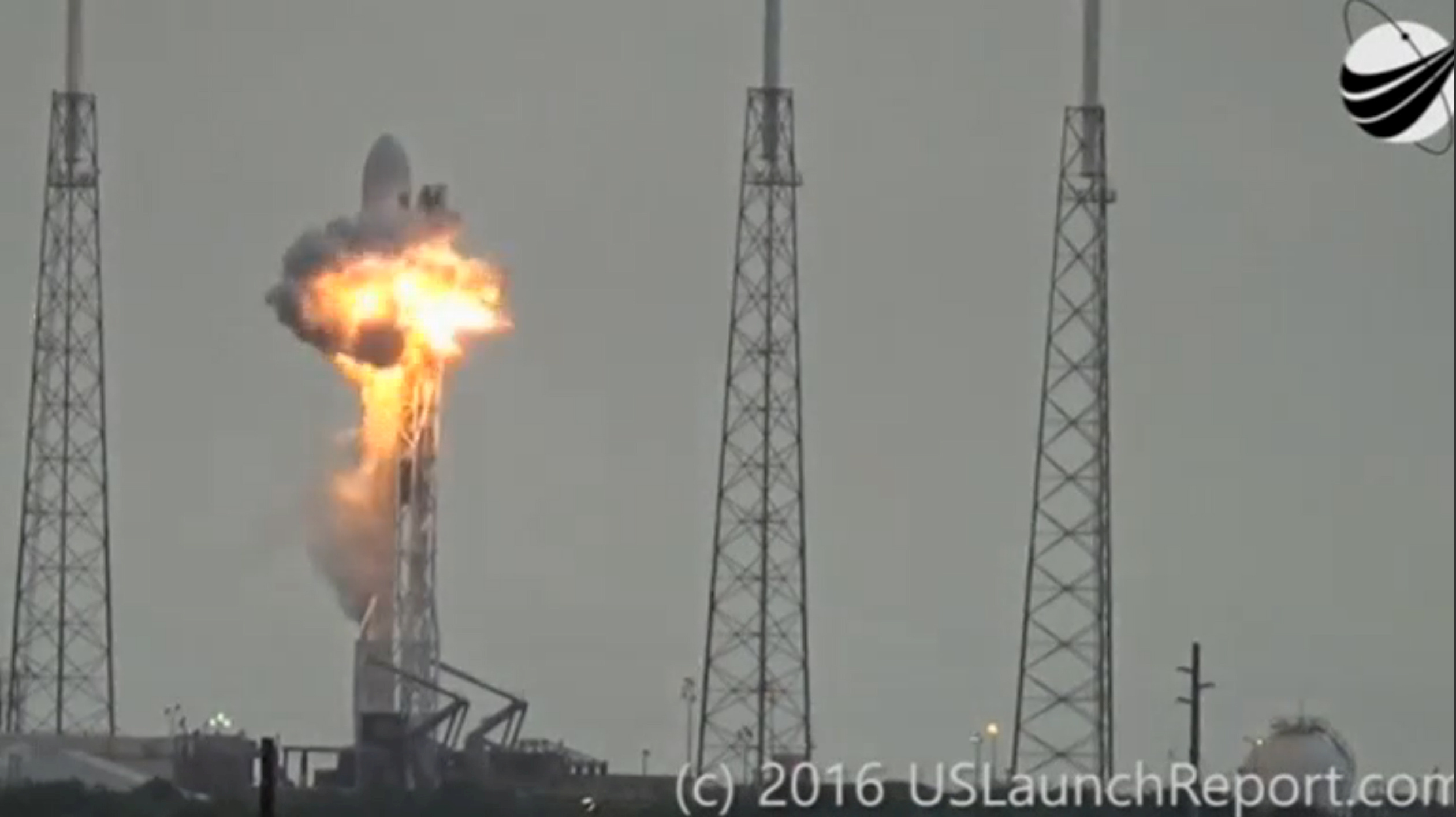 File photo of an explosion on the launch site of a SpaceX Falcon 9 rocket is shown in this still image from video in Cape Canaveral