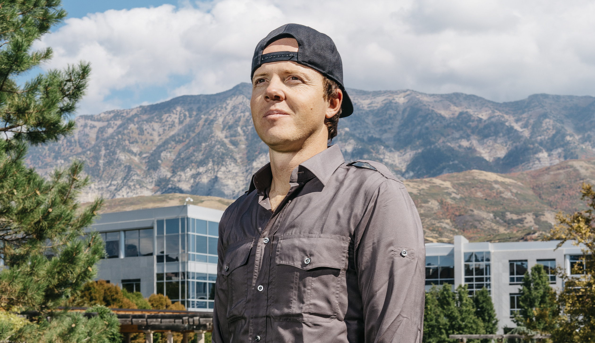 Ryan Smith, CEO of Qualtrics, in front of his company's headquarters in Provo, Utah.