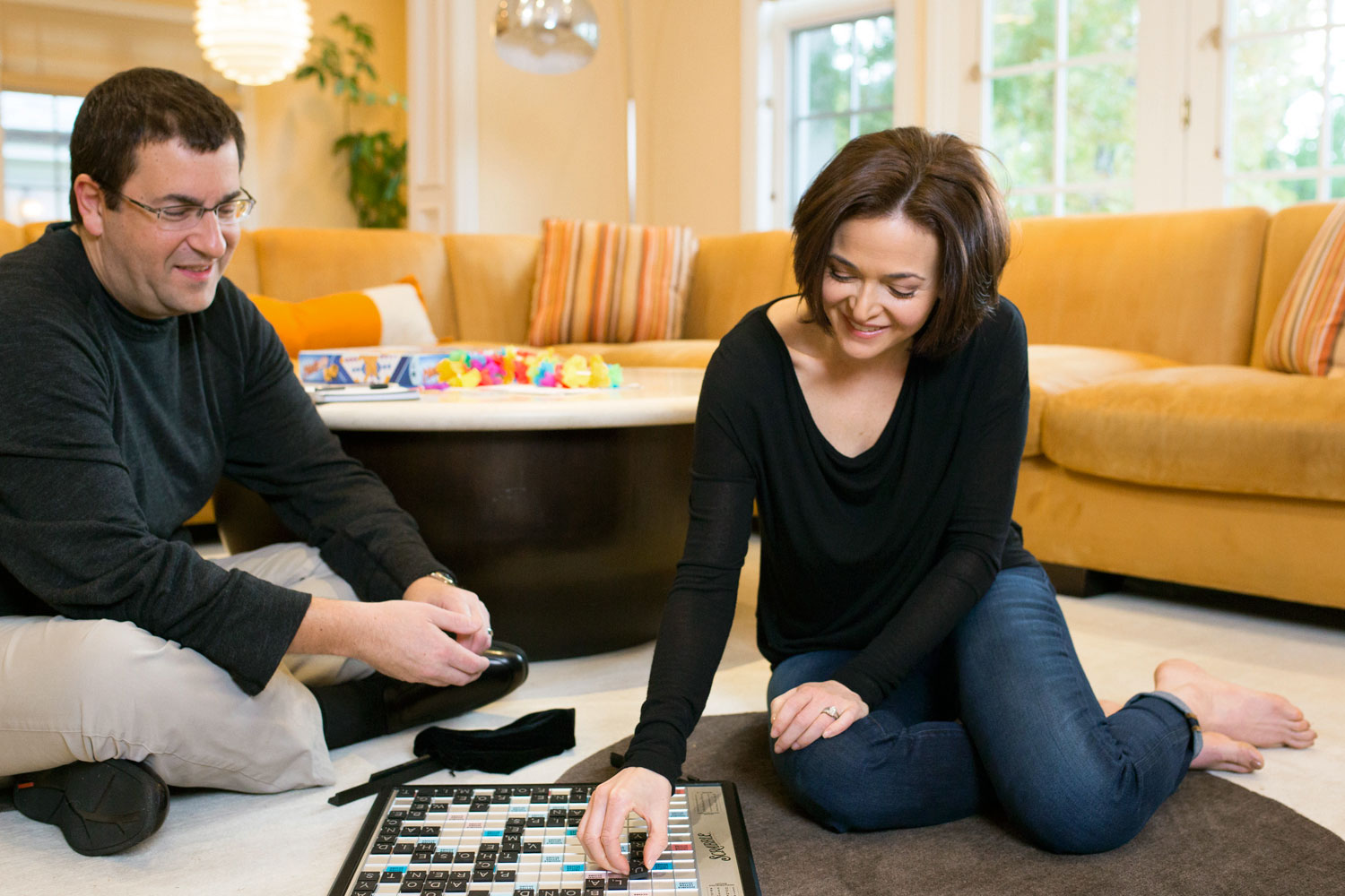 Sandberg and her husband, Dave Goldberg, at their former home in Atherton, Cali.