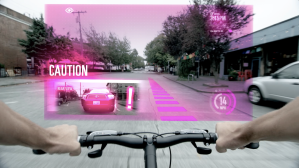A bicyclist avoids a car thanks to wireless AR warning.