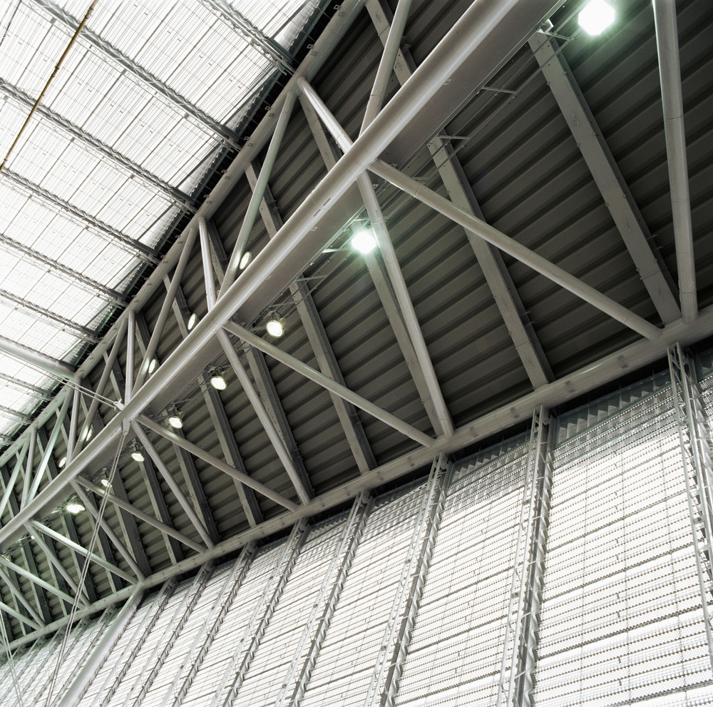 LED light sensors in a warehouse.