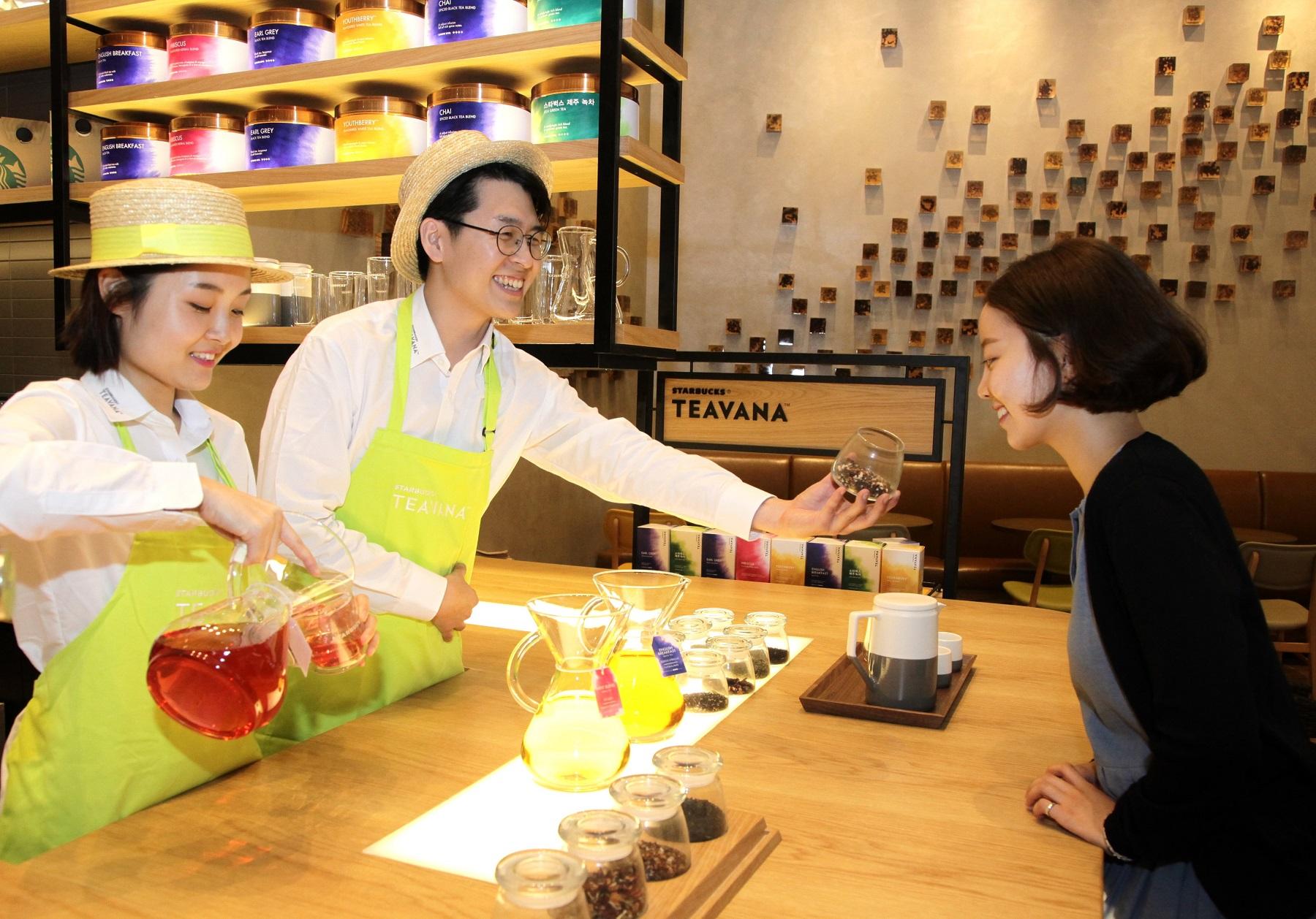 Starbucks Korea staff promoting the Starbucks Teavana line on Sept. 1,  2016.