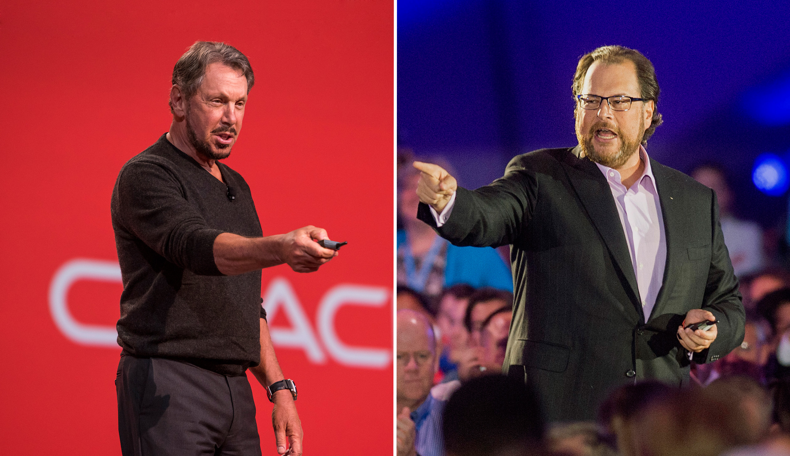 Larry Ellison, chairman of Oracle, and Marc Benioff, CEO of Salesforce