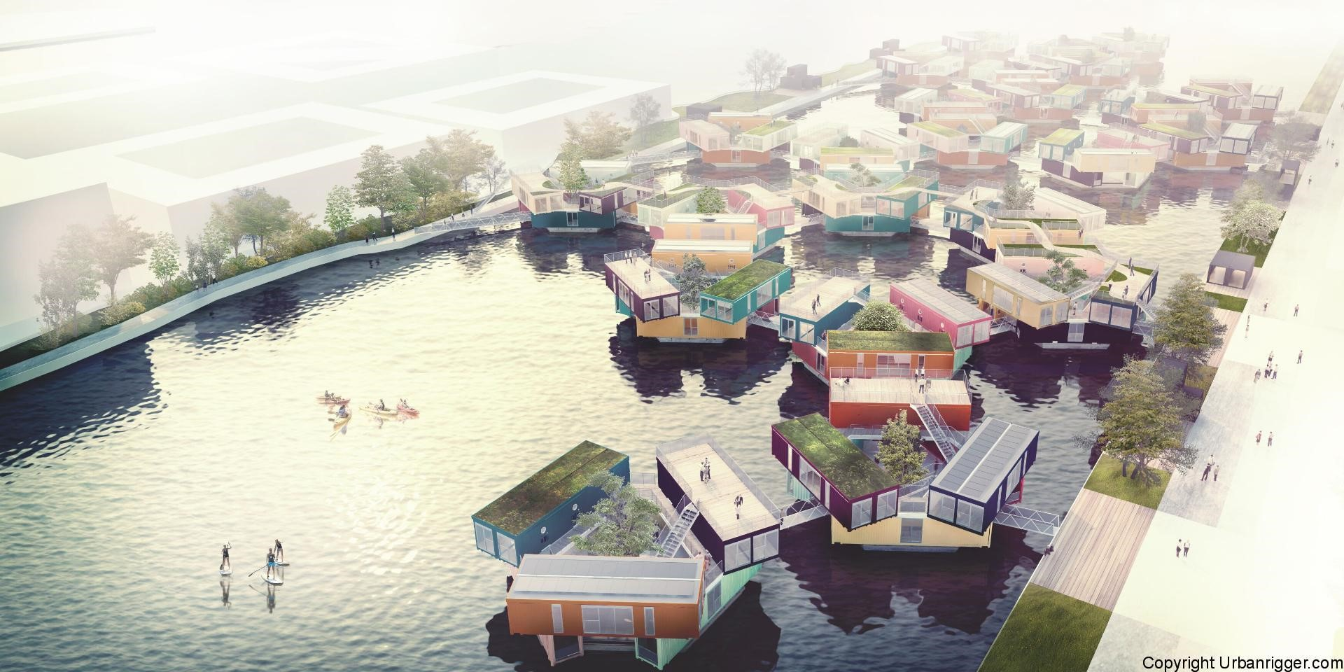 An artist's rendering of multiple Urban Rigger units linked in a canal. The company has deployed a single such unit in Copenhagen.